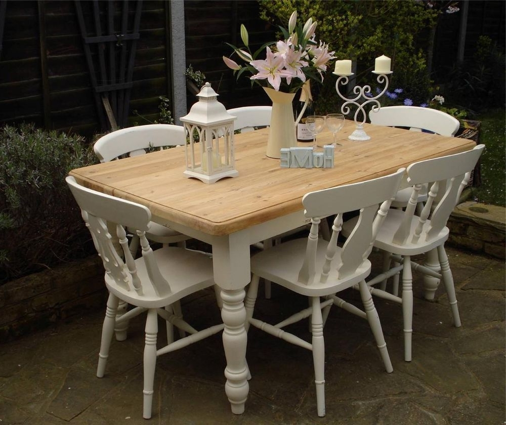 Shabby Chic Country Farmhouse Pine Table And 6 Chairs Laura Ashley Regarding Most Recently Released Shabby Chic Cream Dining Tables And Chairs (View 7 of 25)