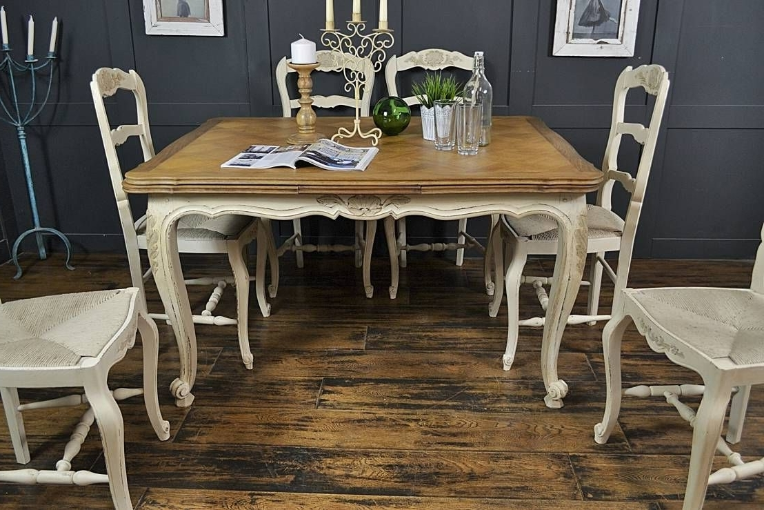 Shabby Chic Cream Dining Tables And Chairs For Most Up To Date 6 Seater Cream Extending Shabby Chic French Dining Setthe (View 18 of 25)