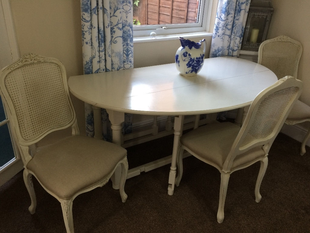 Shabby Chic Cream Dining Tables And Chairs With Regard To Current Oval White / Cream Folding Dining Table And 4 Upholstered Matching (View 15 of 25)