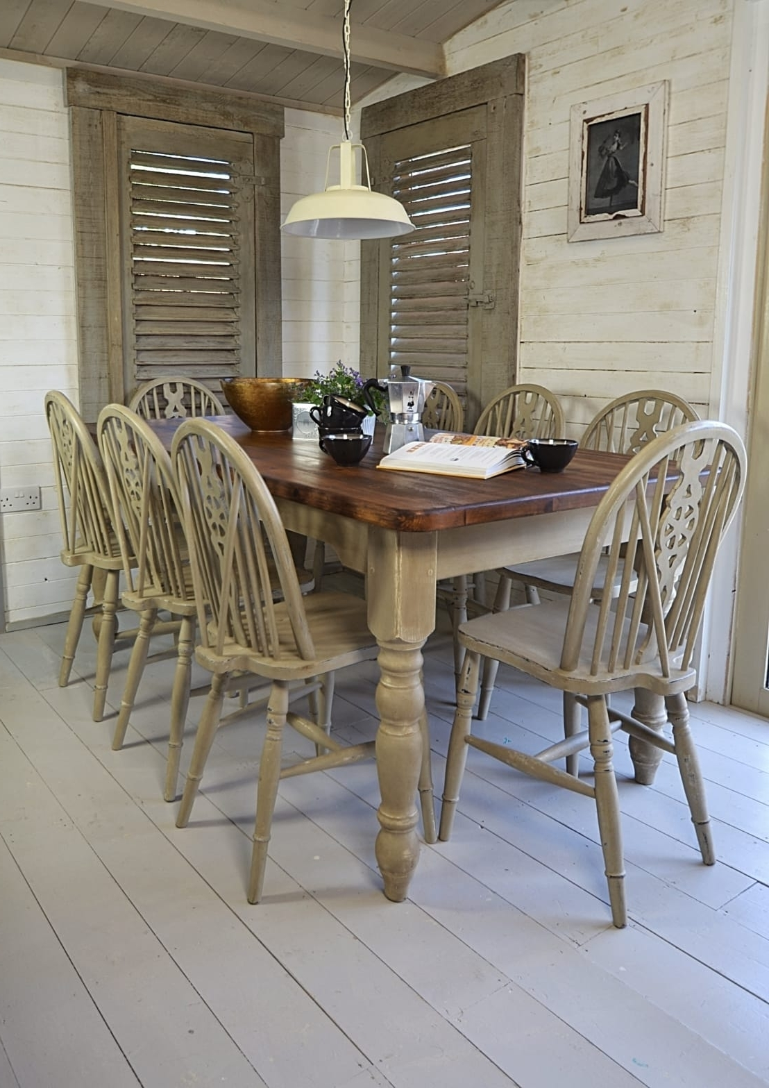 Shabby Chic Dining Sets Throughout Famous Rustic Shabby Chic Dining Table With 8 Wheelback Chairsthe (View 15 of 25)