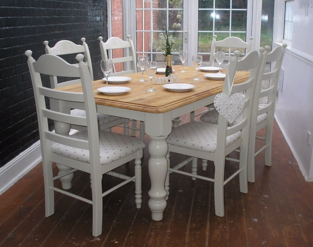 Shabby Chic Dining Table Tjihome, Shabby Chic Kitchen Table Sets With Regard To 2017 Shabby Dining Tables And Chairs (View 17 of 25)