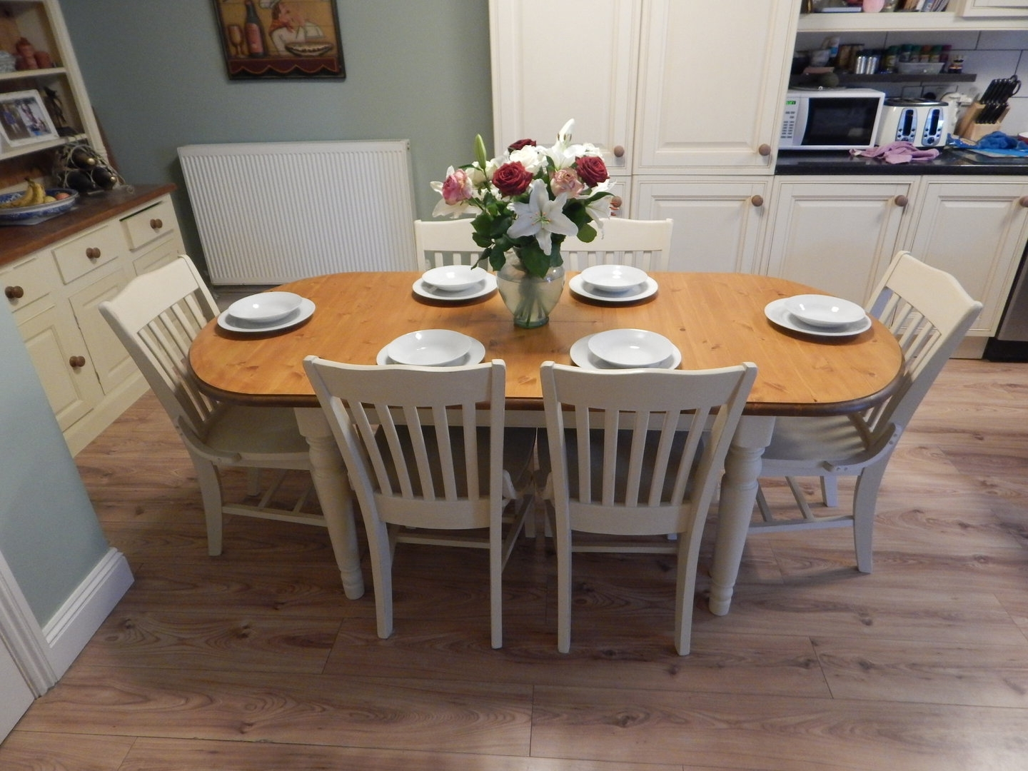 Shabby Chic , Ducal Pine Extending Dining Table & 6 Chairs Pertaining To Trendy Shabby Dining Tables And Chairs (View 16 of 25)