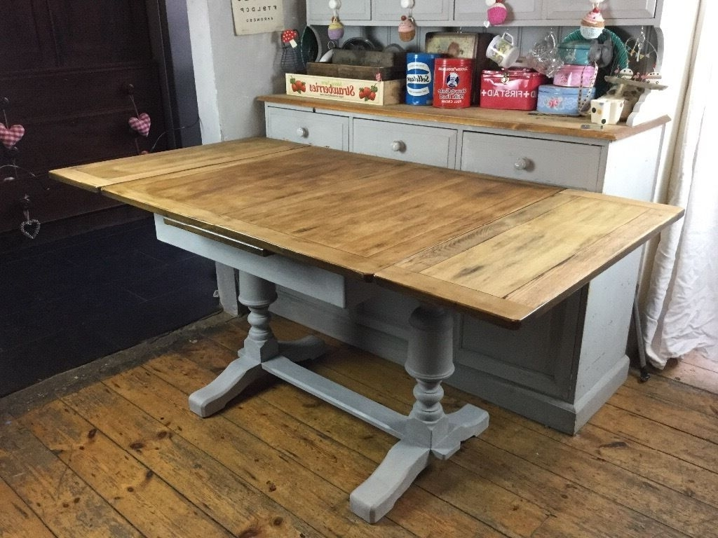 Shabby Chic Vintage Extending Dining Table Painted Annie Sloan Paris Inside 2017 Retro Extending Dining Tables (View 21 of 25)