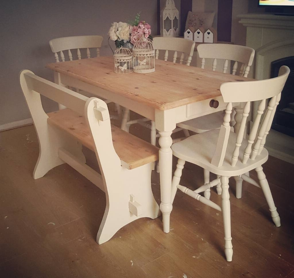 Shabby Dining Tables And Chairs Throughout Well Liked Stunning Solid Pine Shabby Chic Table Chairs And Bench/pew Farrow (View 15 of 25)