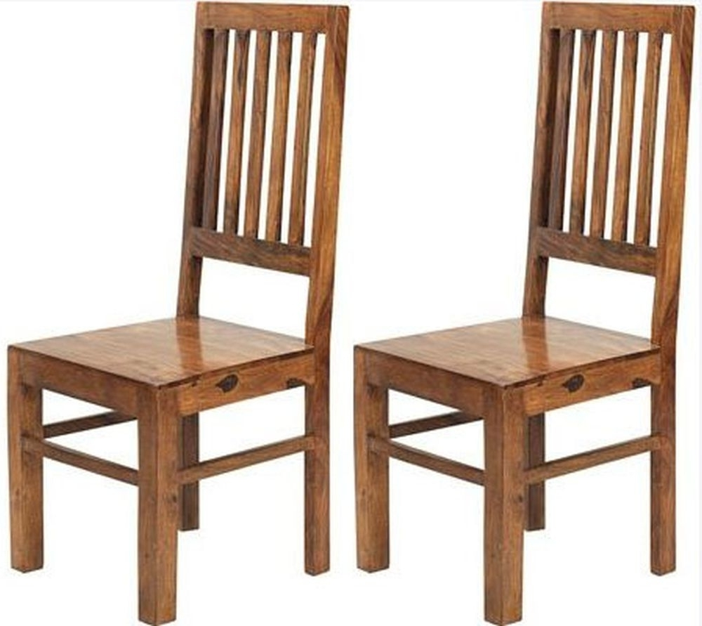 Sheesham Dining Chairs Regarding 2018 Buy Indian Hub Cube Sheesham Dining Chair – (Pair) Online – Cfs Uk (View 4 of 25)