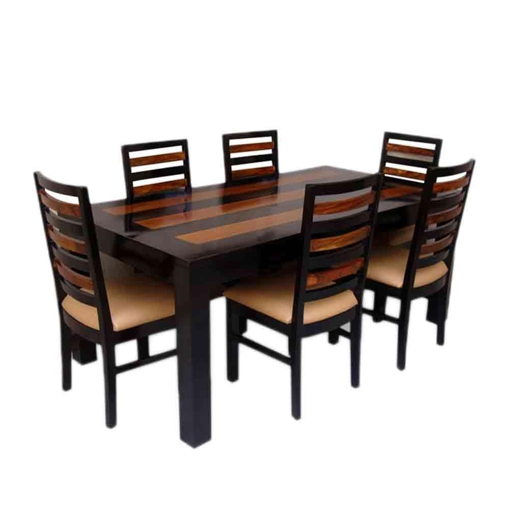 Sheesham Dining Tables 8 Chairs Throughout Favorite Induscraft Trendy Sheesham Wood 6 Seater Dining Table Set (View 21 of 25)