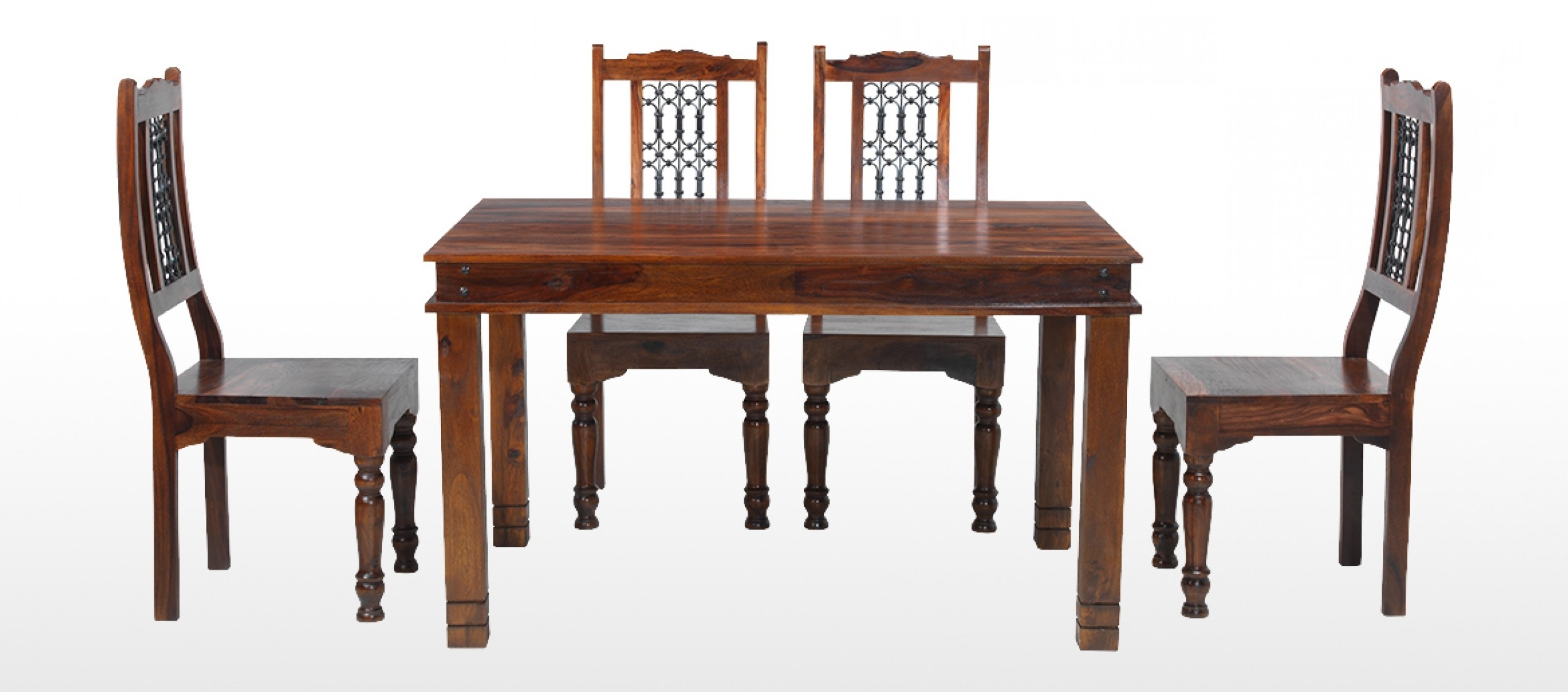 Sheesham Dining Tables And 4 Chairs Regarding Fashionable Chunky Wood Dining Table And Chairs Jali Sheesham 120 Cm Chunky (View 12 of 25)