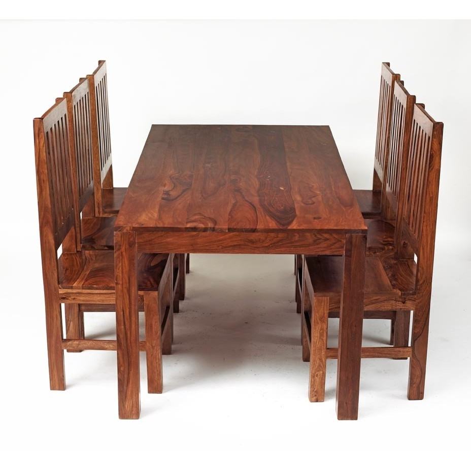 Sheesham Dining Tables And Chairs Pertaining To Most Popular Cube Sheesham 6 Ft Dining Set With Wooden Chairs – Verty Indian (View 19 of 25)