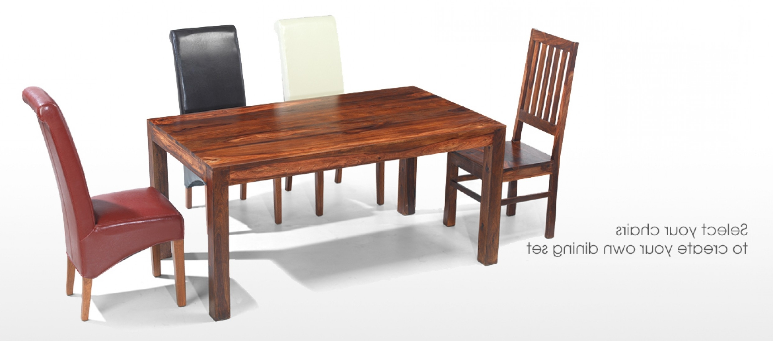 Sheesham Dining Tables And Chairs Pertaining To Popular Cube Sheesham 140 Cm Dining Table And 4 Chairs (View 23 of 25)