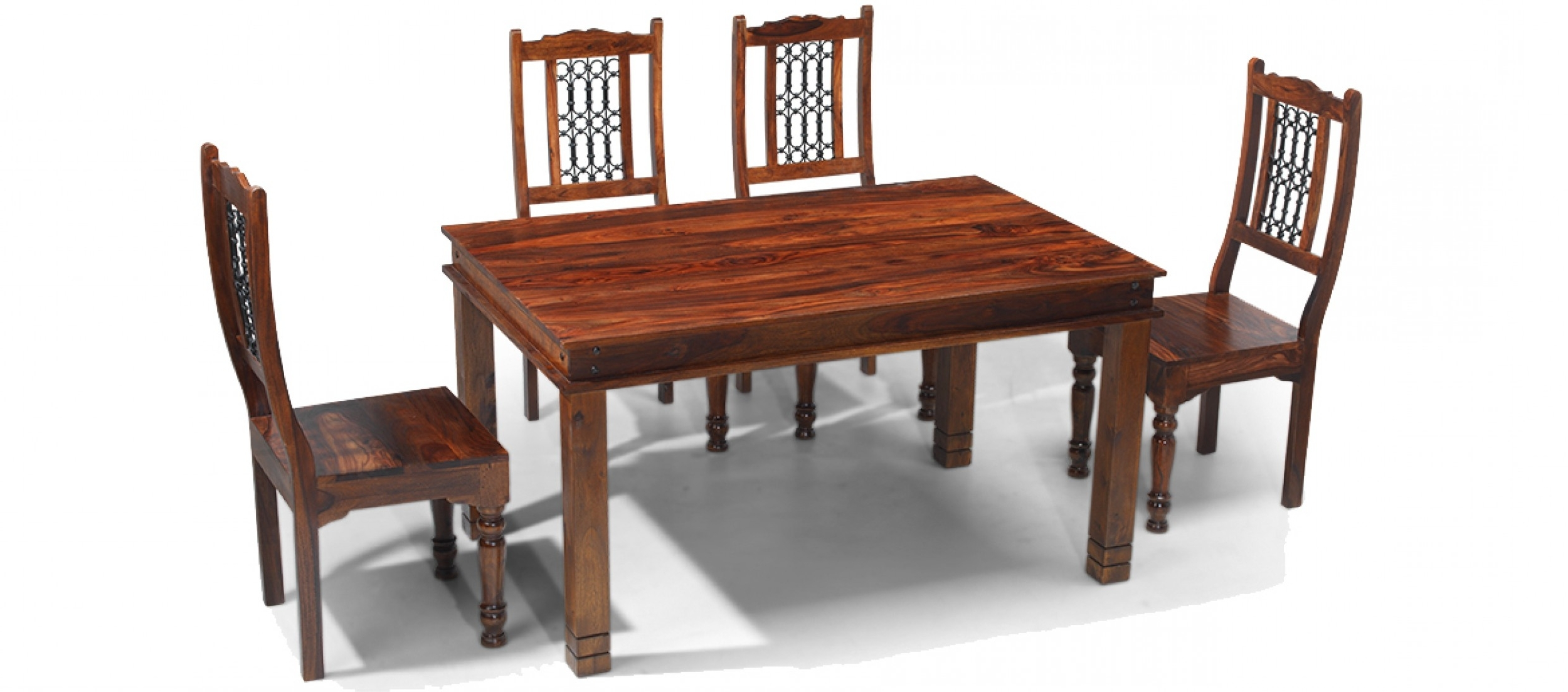 Sheesham Dining Tables Pertaining To Most Current Jali Sheesham 120 Cm Chunky Dining Table And 4 Chairs (View 17 of 25)