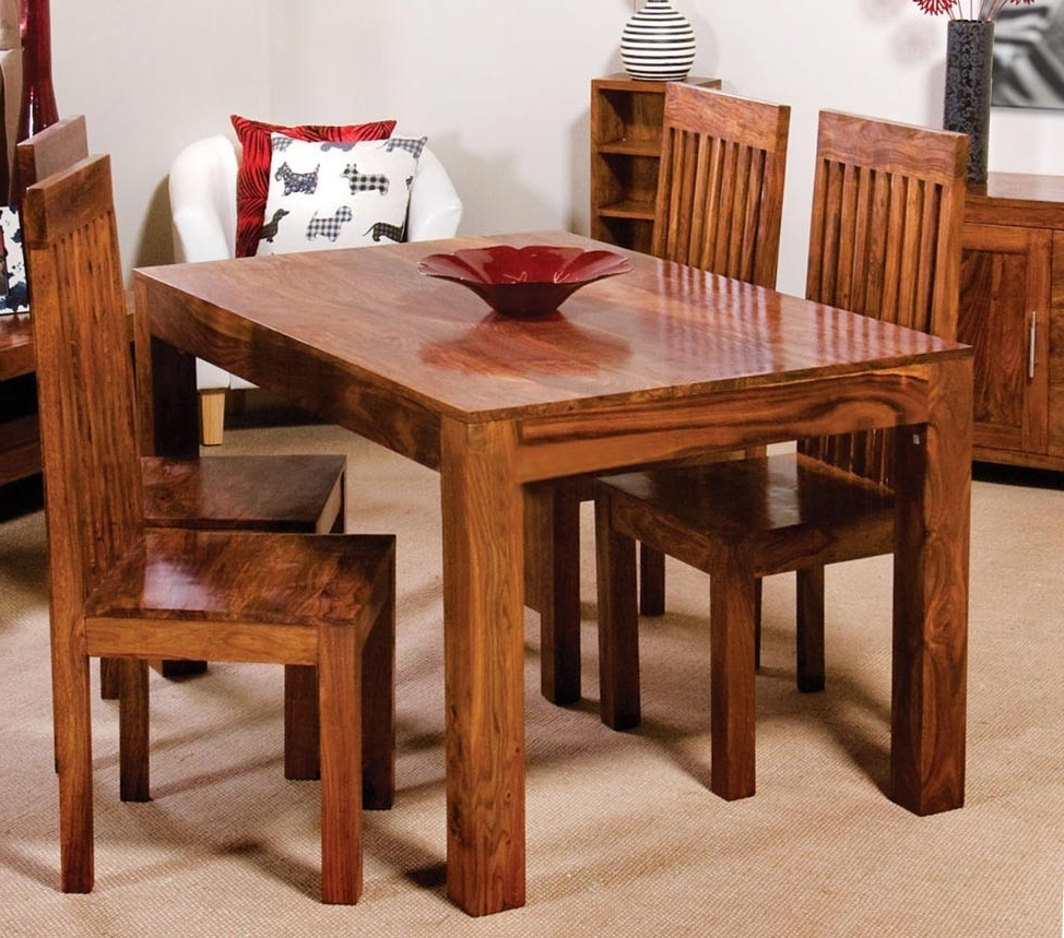 Sheesham Wood Dining Chairs With Regard To Latest Cuba Sheesham 4 Seater Dining Set (View 3 of 25)