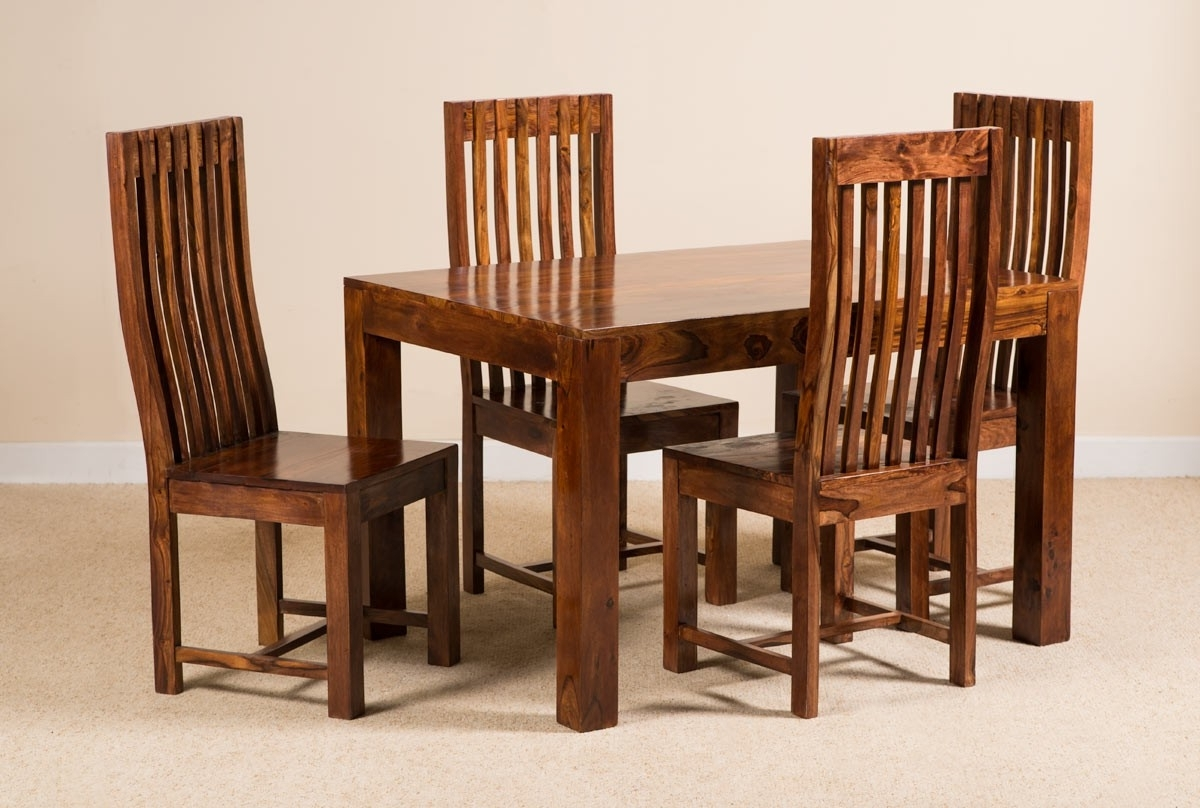 Sheesham Wood Dining Tables With Regard To Recent 7 Piece Solid Wood Dining Set (View 6 of 25)