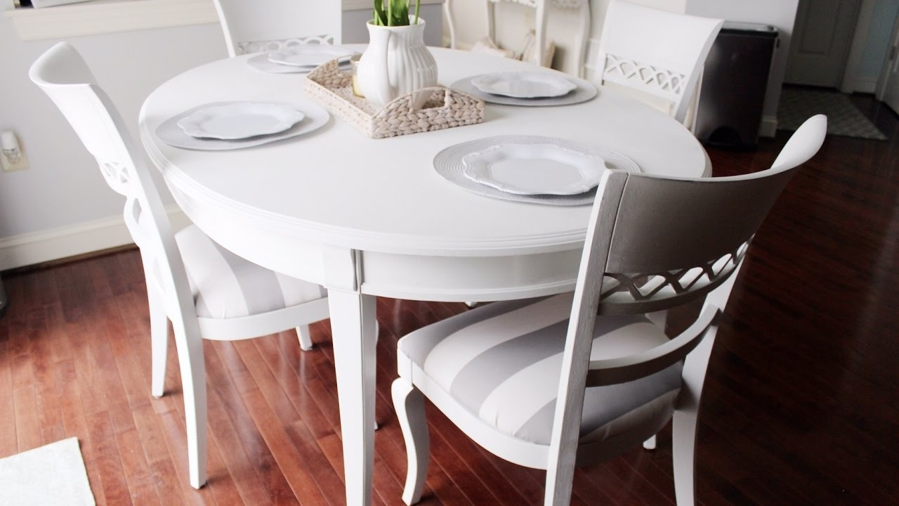 Shiny White Dining Tables In Most Current Chalk Paint Kitchen Dining Table – Youtube (View 17 of 25)