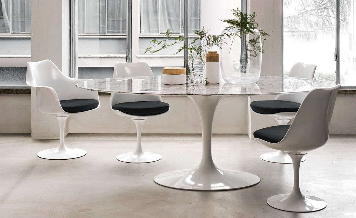 Shiny White Dining Tables Pertaining To Famous Saarinen Dining Table Arabescato Marble – Hivemodern (View 23 of 25)
