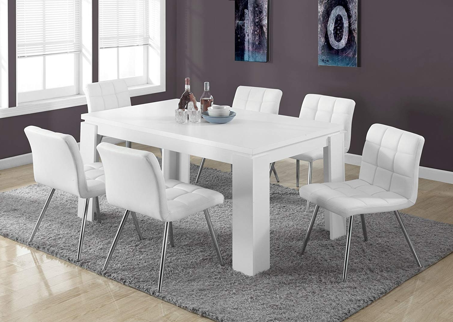Shiny White Dining Tables Within Most Recently Released Amazon – Monarch Specialties I 1056, Dining Table, White Hollow (View 8 of 25)