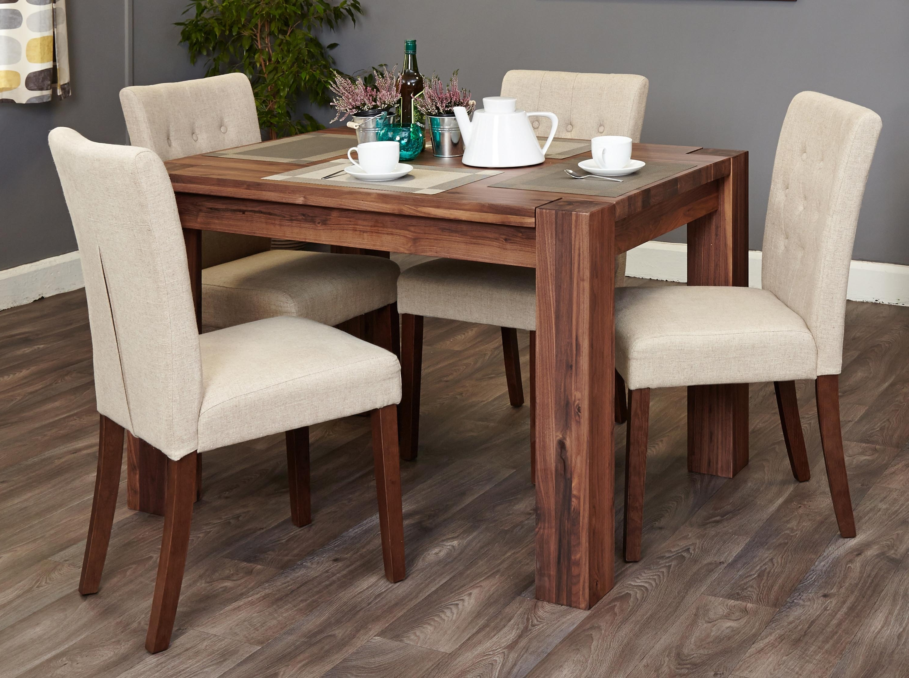 Shiro Walnut 4 Seater Dining Table Set (Biscuit Flare Back Regarding Most Recent Walnut Dining Table Sets (View 11 of 25)