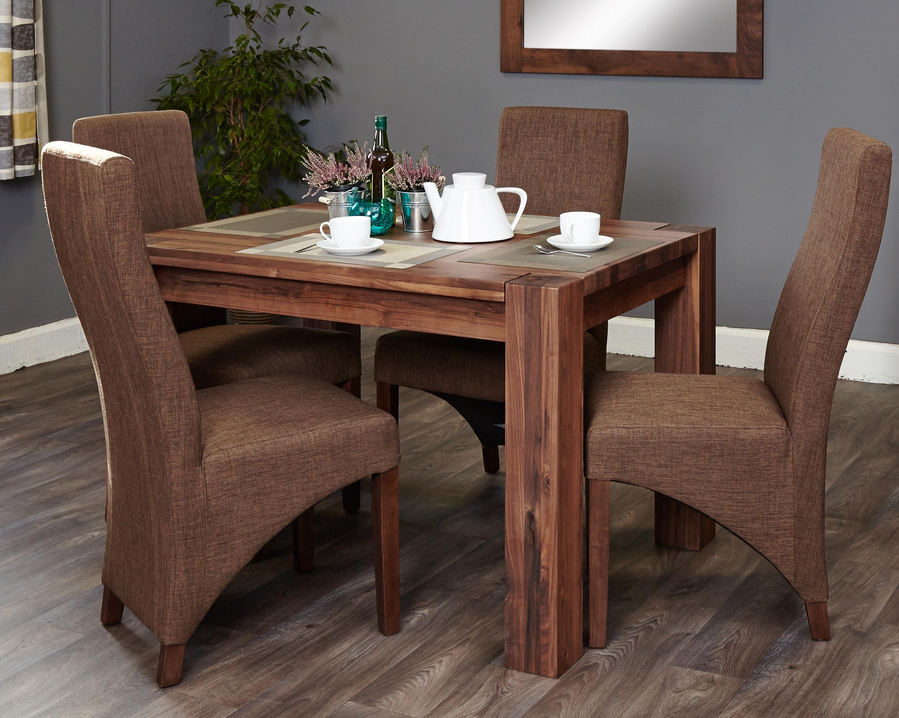Shiro Walnut 4 Seater Dining Table Set (Full Back) (Socdr04A Cdr03C) Regarding Well Liked Small 4 Seater Dining Tables (View 17 of 25)