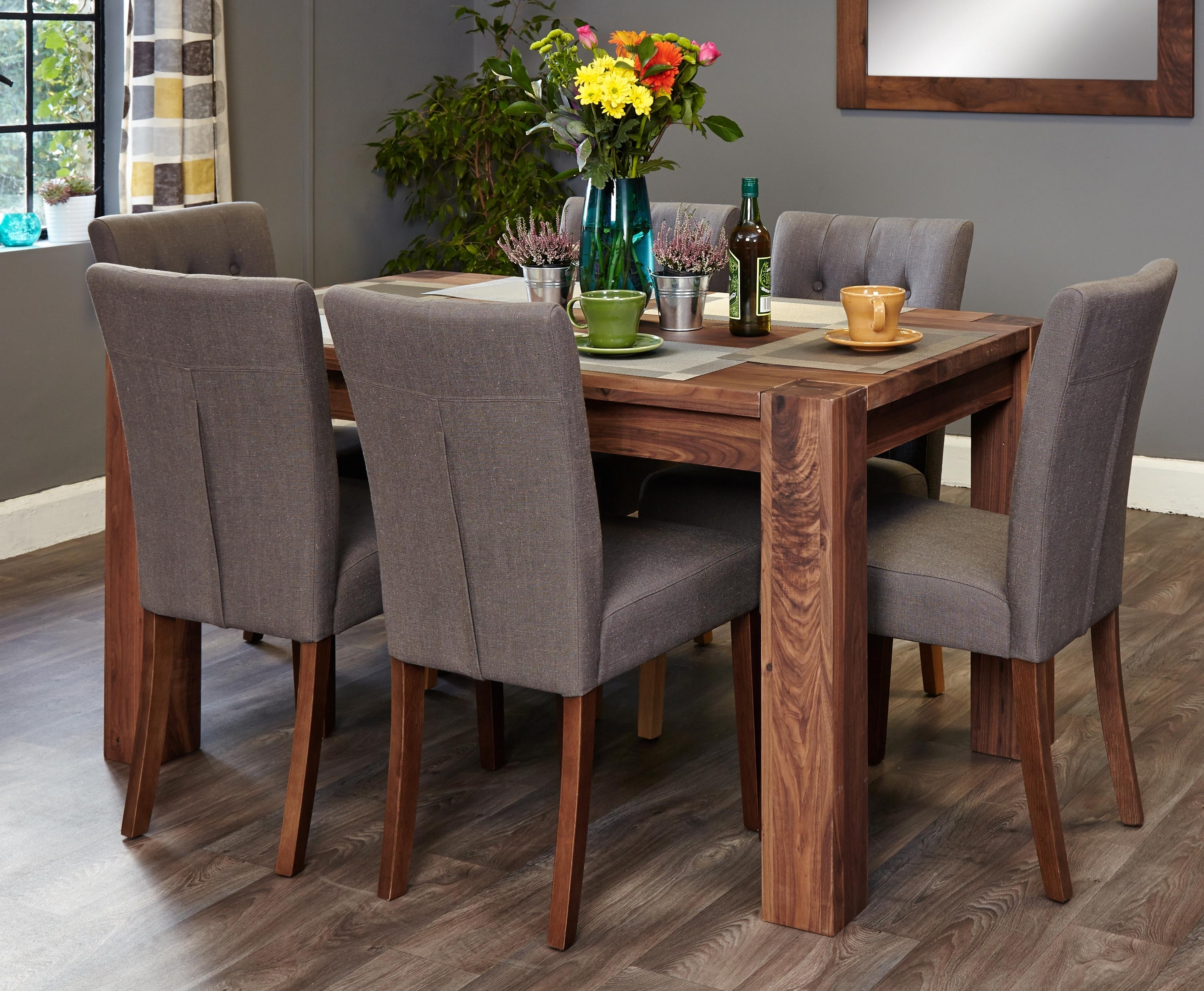 Shiro Walnut 6 Seater Dining Table Set (Slate Flare Back) (Socdr04B Within Recent 6 Seat Dining Tables And Chairs (View 19 of 25)
