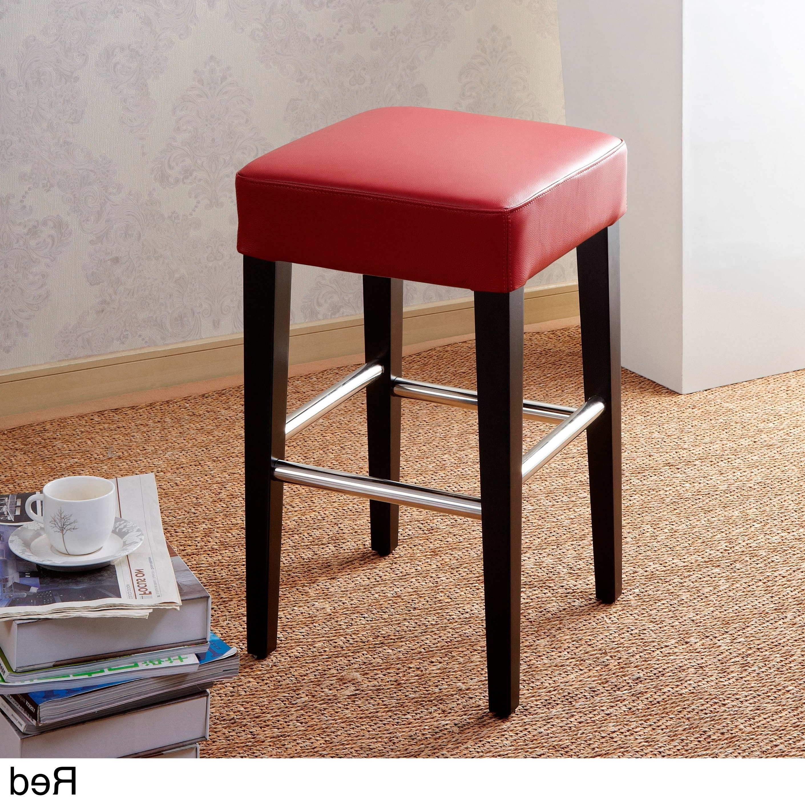 Shop 24 Inch Backless Counter High Stool In Genuine Leather – Free With Regard To Current Laurent 7 Piece Counter Sets With Wood Counterstools (View 9 of 25)