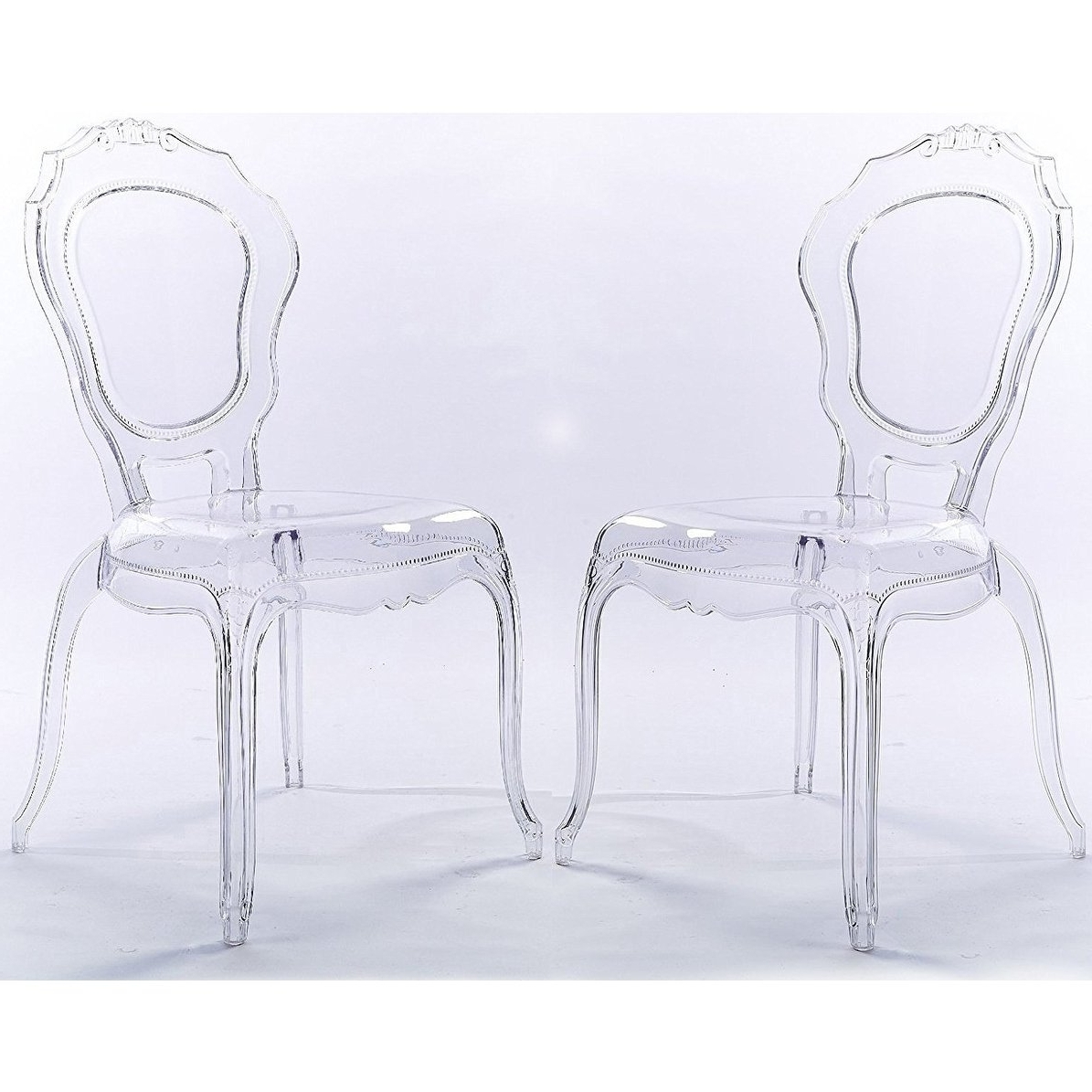 Shop 2Xhome Set Of 2 Clear Plastic Side Chairs Dining Chair Modern Intended For Famous Clear Plastic Dining Tables (View 3 of 25)