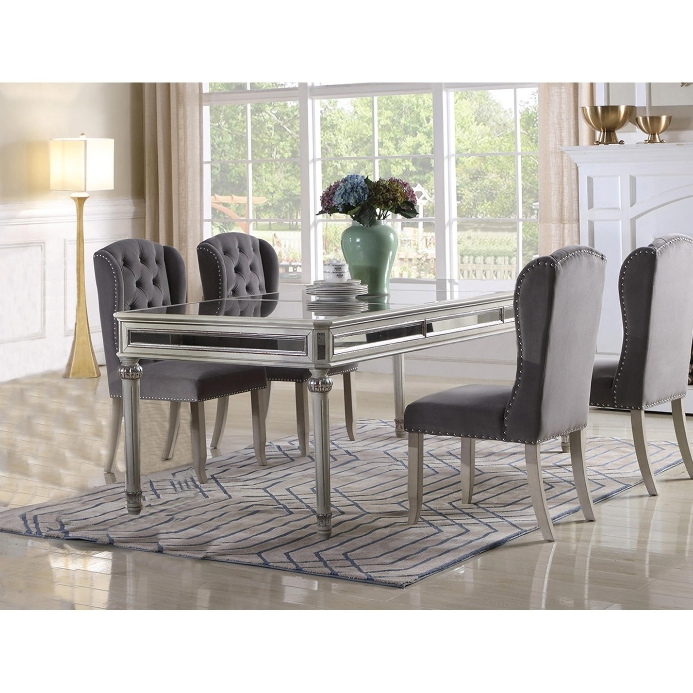 Shop Best Master Furniture Antique Cream Mirrored Dining Table With Regard To Preferred Mirrored Dining Tables (View 19 of 25)