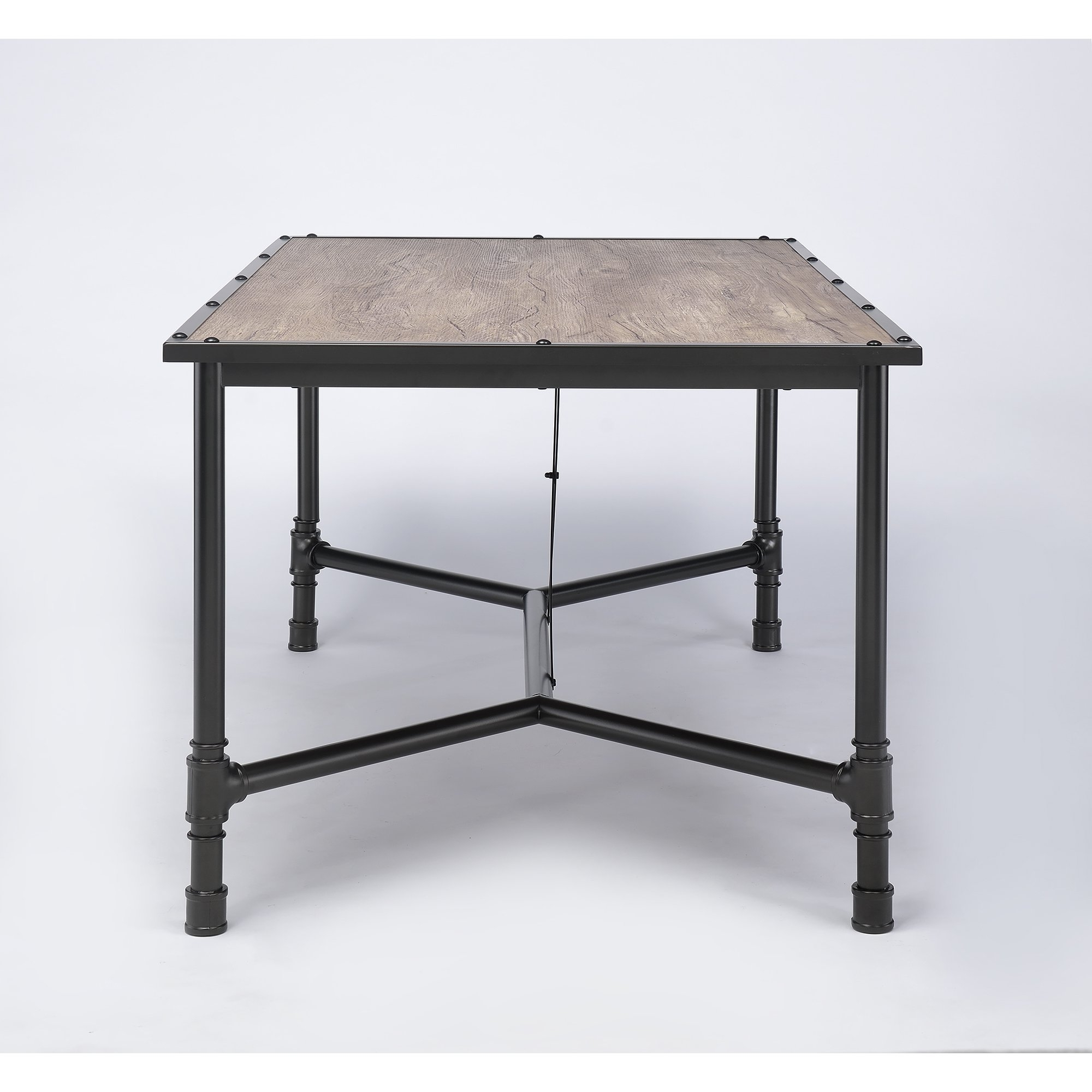 Shop Caitlin Industrial Oak Black Dining Table – Rustic Oak – Free Within Well Known Rustic Oak Dining Tables (View 24 of 25)