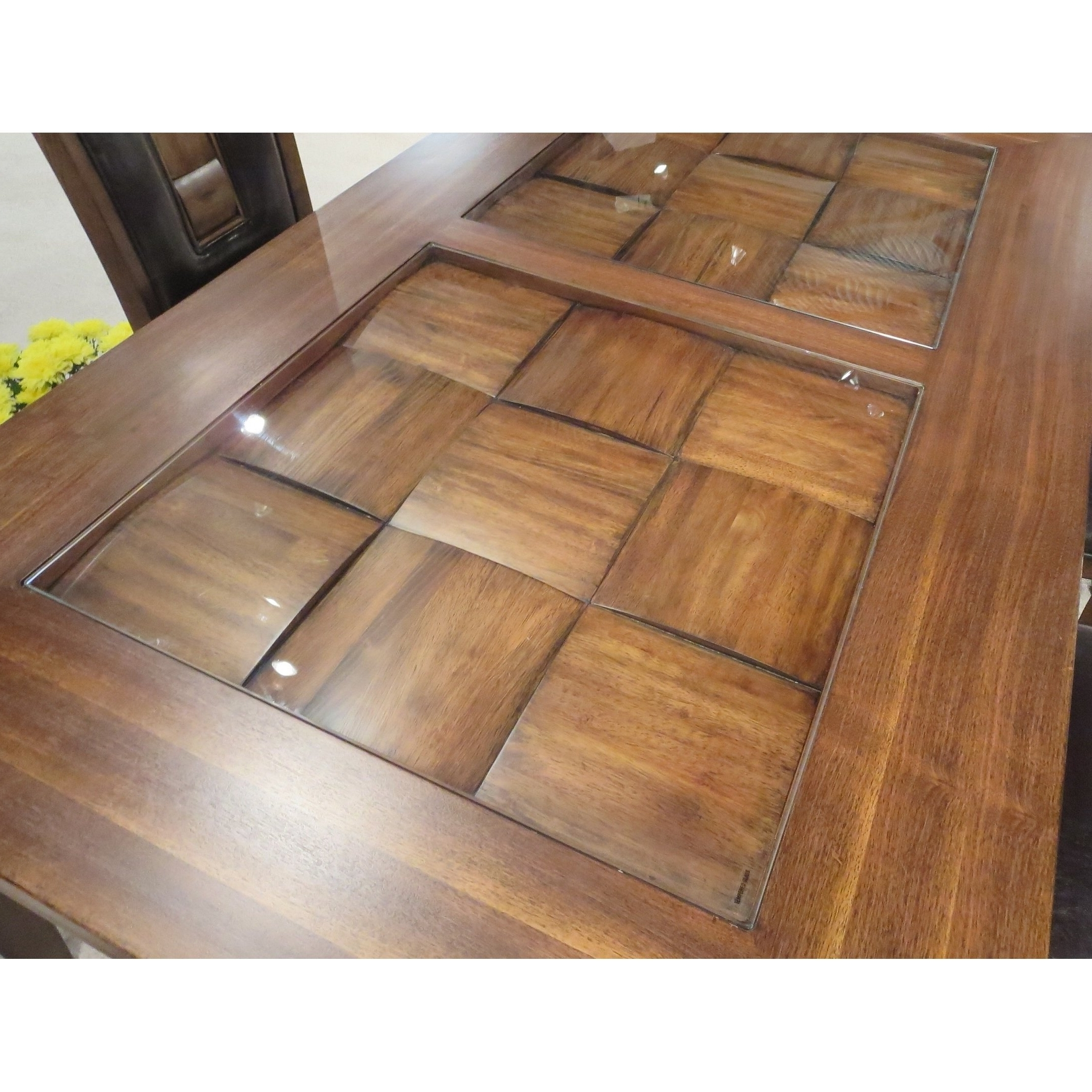 Shop Calais 7 Piece Parquet Finish Solid Wood Dining Table With 6 Intended For Most Popular Parquet 6 Piece Dining Sets (View 16 of 25)