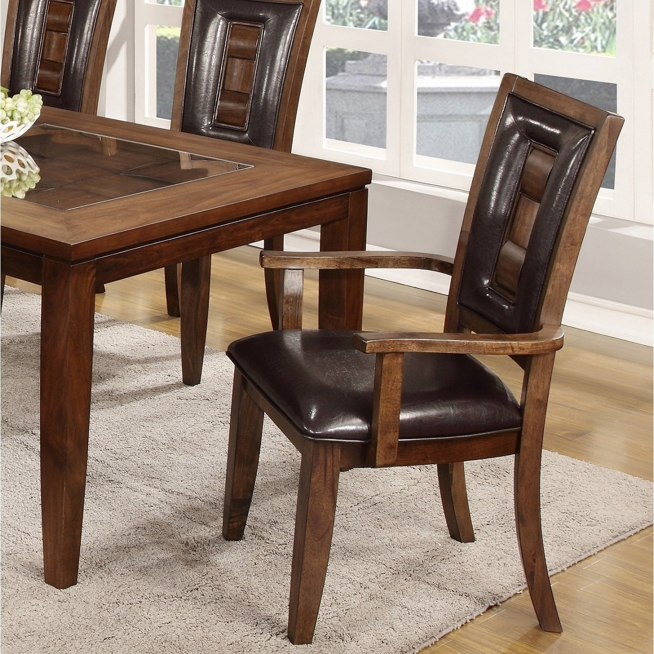 Shop Calais 7 Piece Parquet Finish Solid Wood Dining Table With 6 Regarding Most Recent Parquet 6 Piece Dining Sets (View 24 of 25)