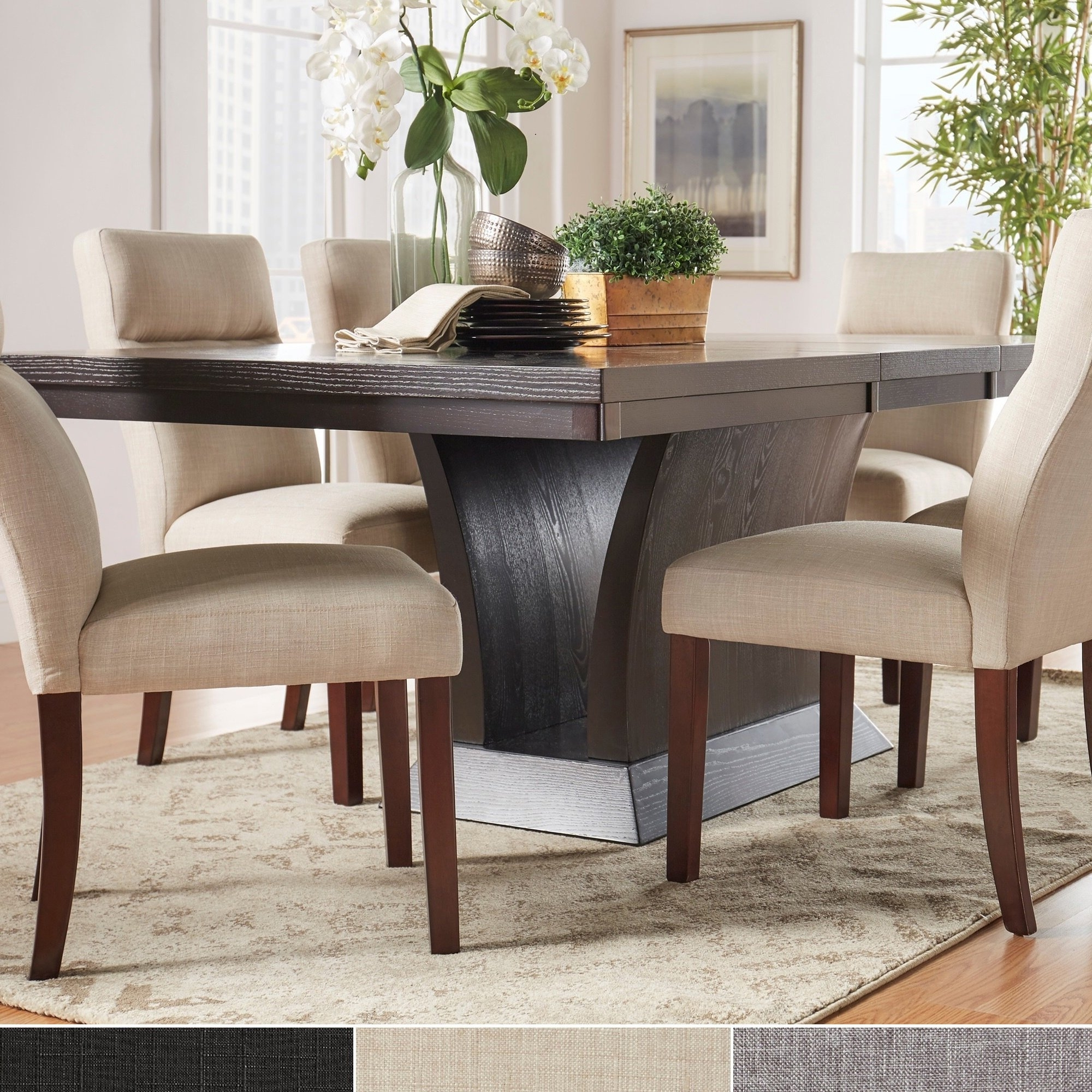 Shop Charles Espresso Contemporary Dining Setinspire Q Modern Intended For Most Up To Date Craftsman 7 Piece Rectangular Extension Dining Sets With Arm & Uph Side Chairs (View 16 of 25)