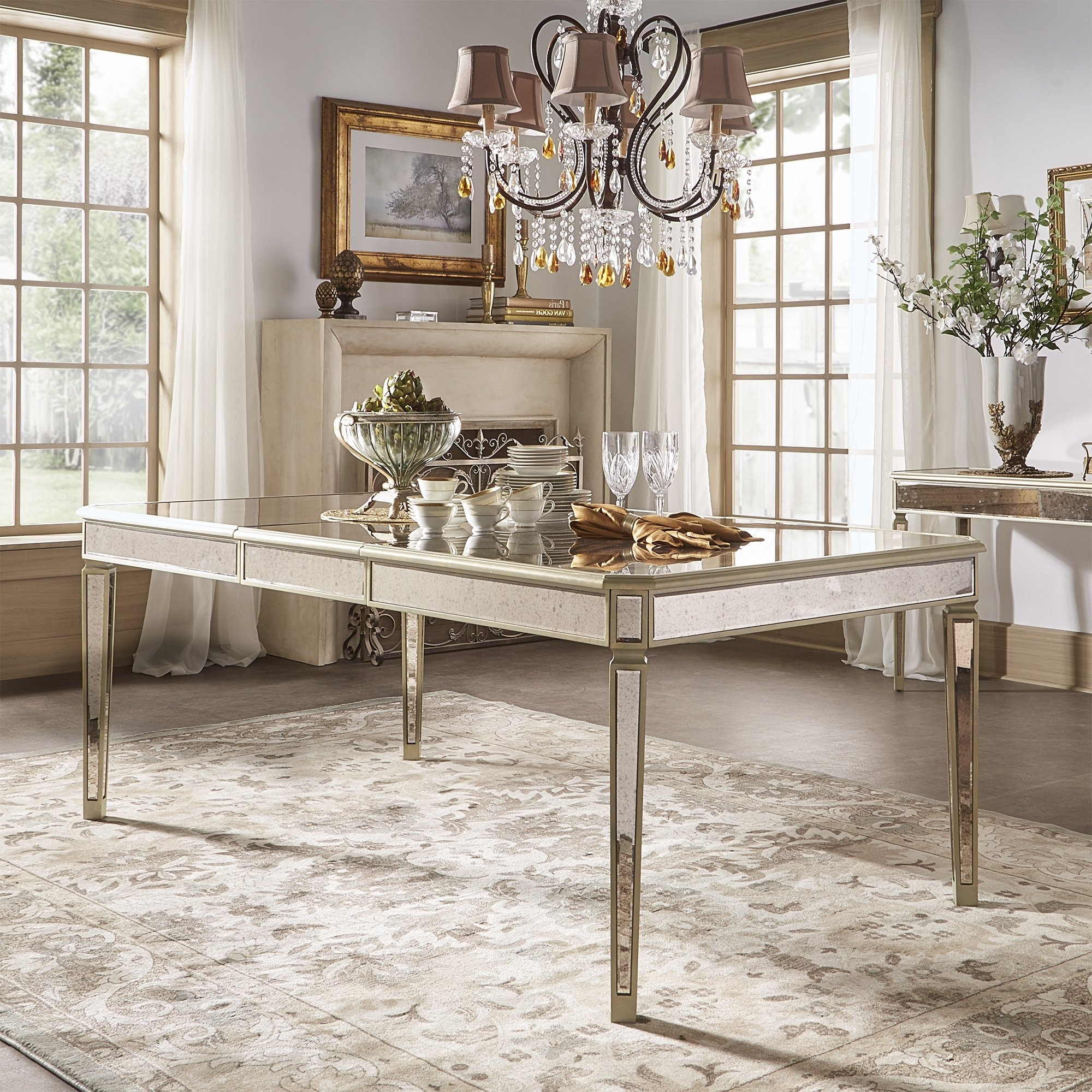 Shop Clara Antique Gold Mirrored Extending Dining Tableinspire Q For Famous Antique Mirror Dining Tables (View 20 of 25)