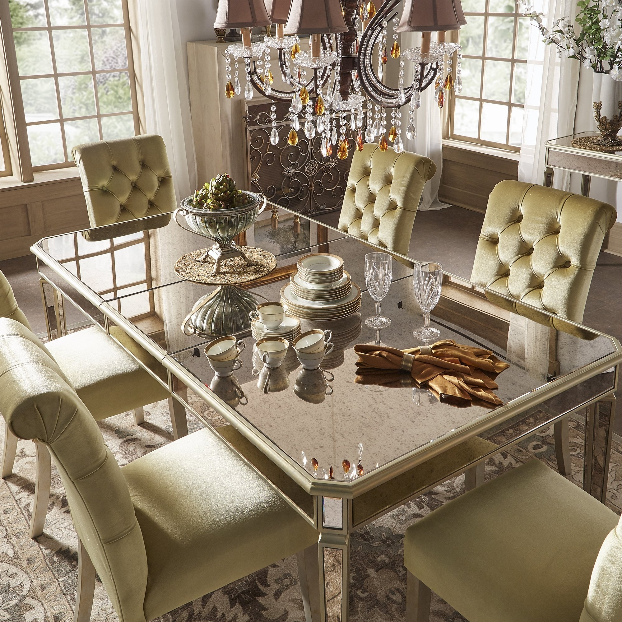 Shop Clara Gold Velvet And Antique Gold Mirrored Dining Set Within Best And Newest Antique Mirror Dining Tables (View 21 of 25)