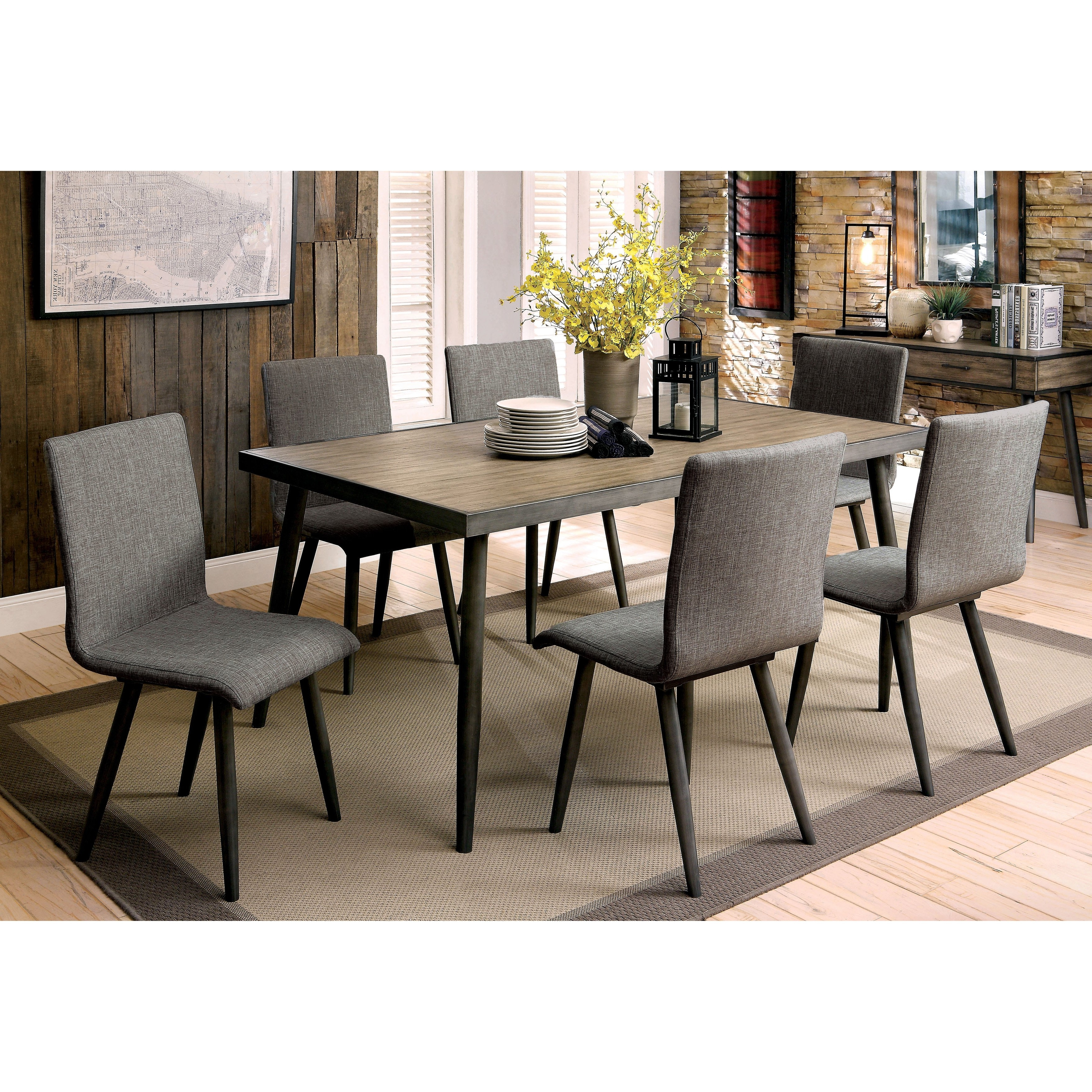 Shop Furniture Of America Bradensbrook Mid Century Modern Industrial With Fashionable Industrial Style Dining Tables (View 21 of 25)
