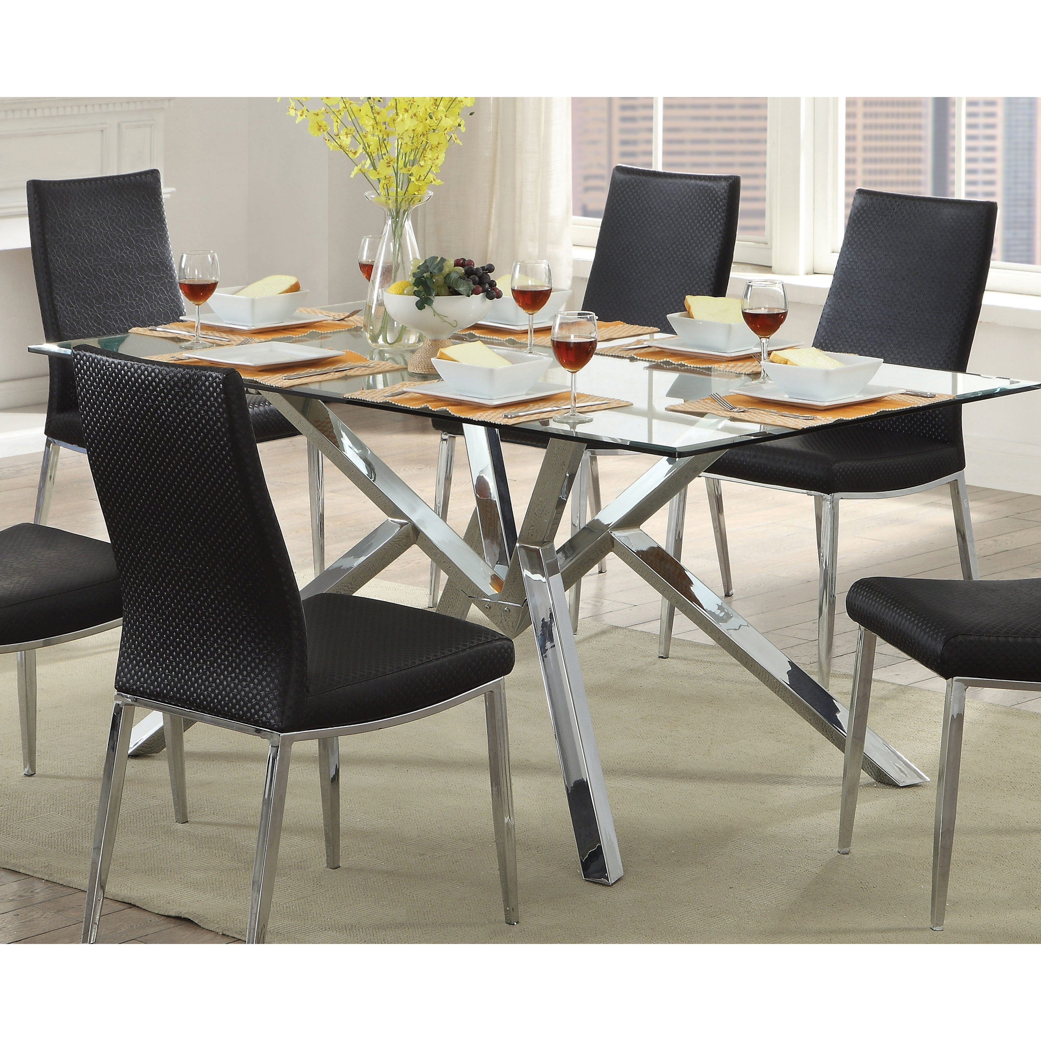 Shop Furniture Of America Casey Contemporary Chrome Dining Table – N With Regard To Well Liked Chrome Dining Tables And Chairs (View 22 of 25)