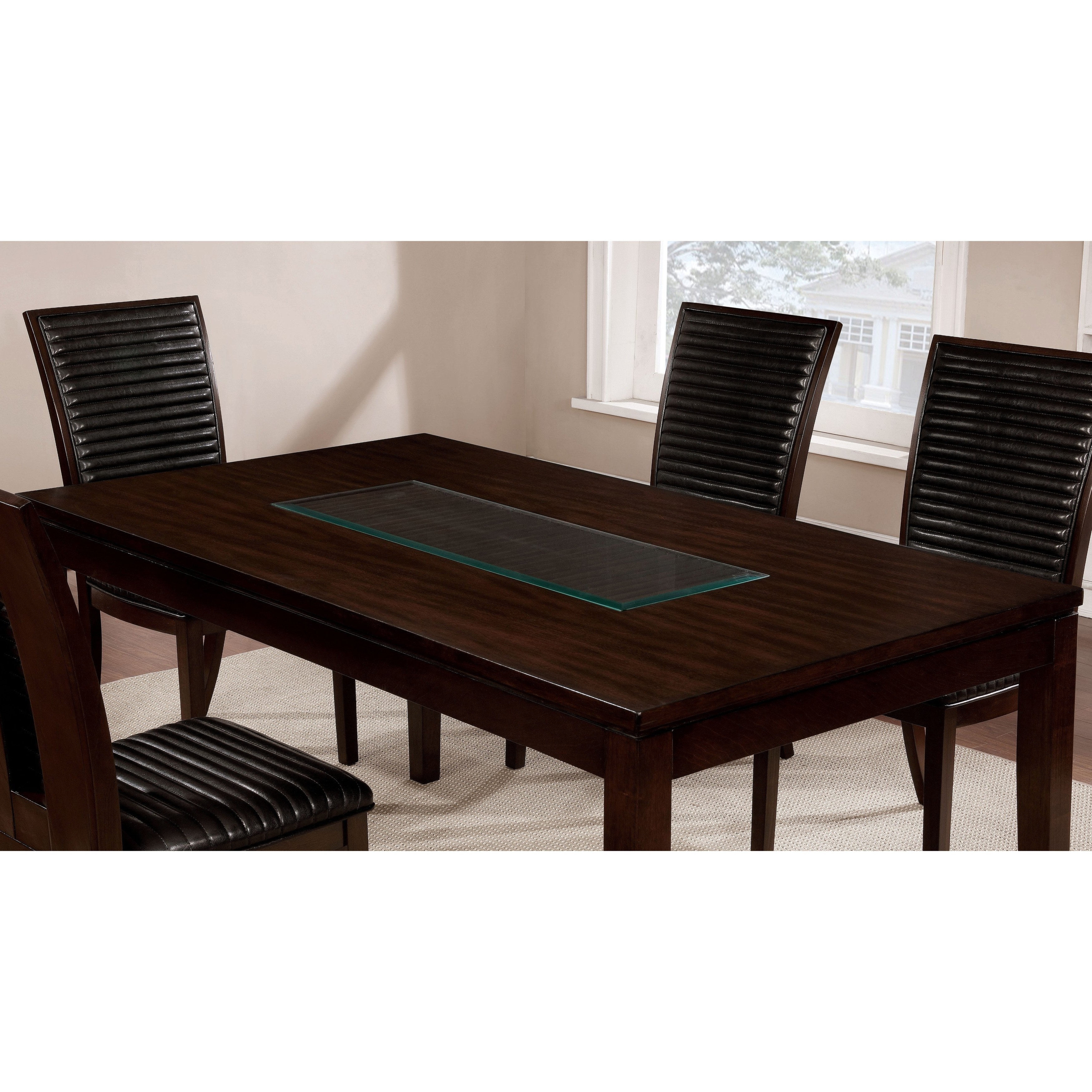 Shop Furniture Of America Gileon Walnut/ Espresso Wood Transitional In Current Leon 7 Piece Dining Sets (View 18 of 25)