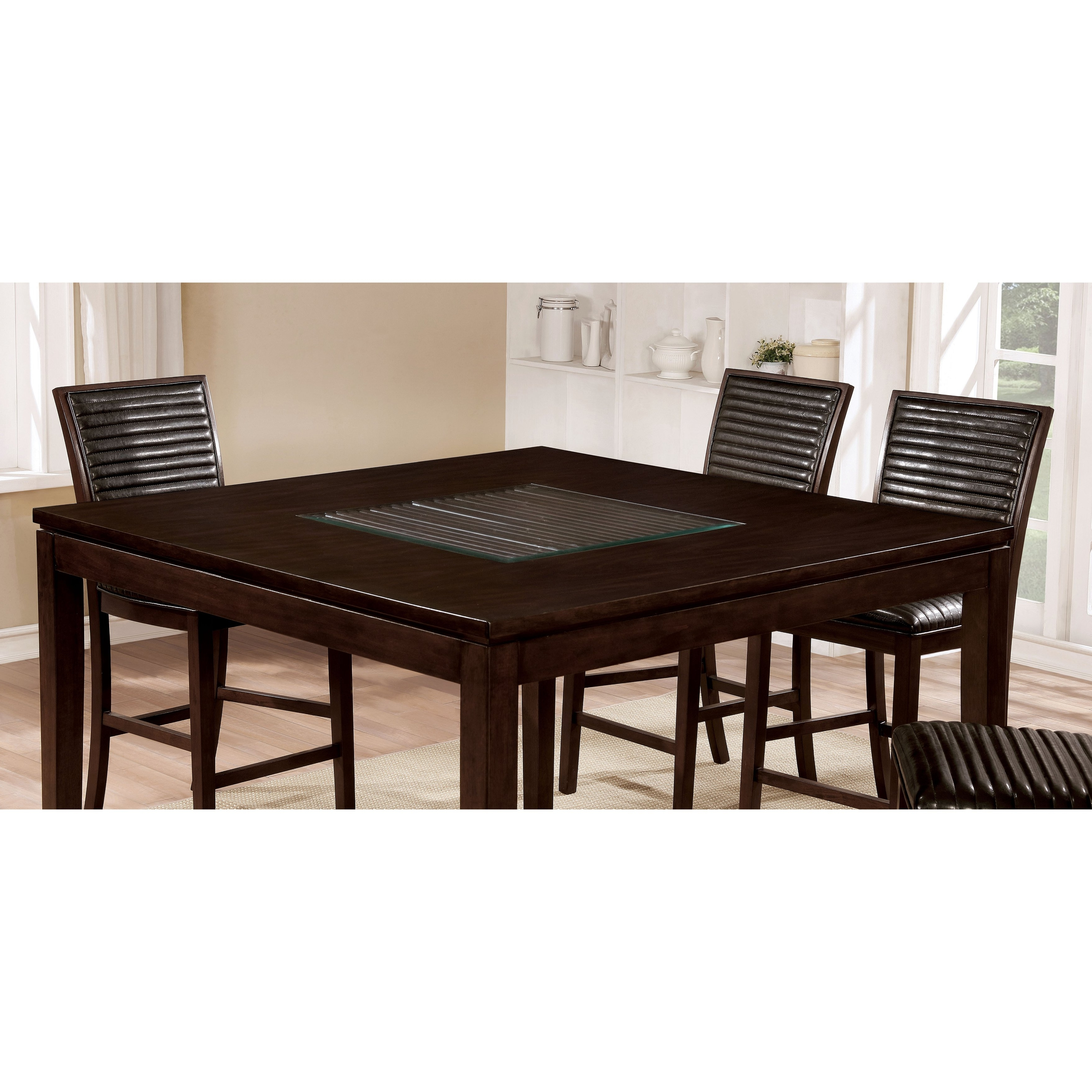 Shop Furniture Of America Gileon Walnut Wood And Faux Leather 7 For Preferred Leon 7 Piece Dining Sets (View 14 of 25)