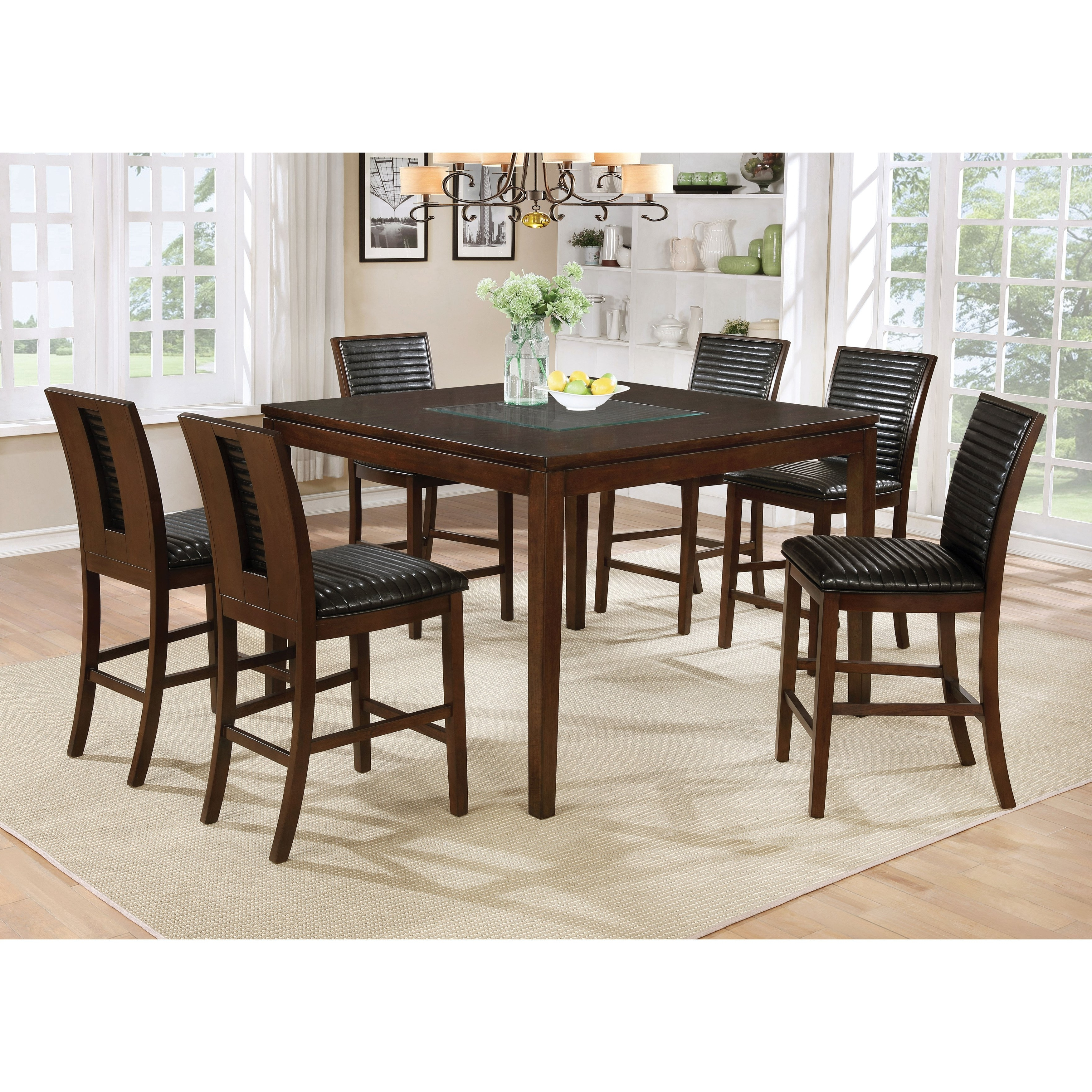 Shop Furniture Of America Gileon Walnut Wood And Faux Leather 7 Throughout Trendy Leon 7 Piece Dining Sets (View 18 of 25)
