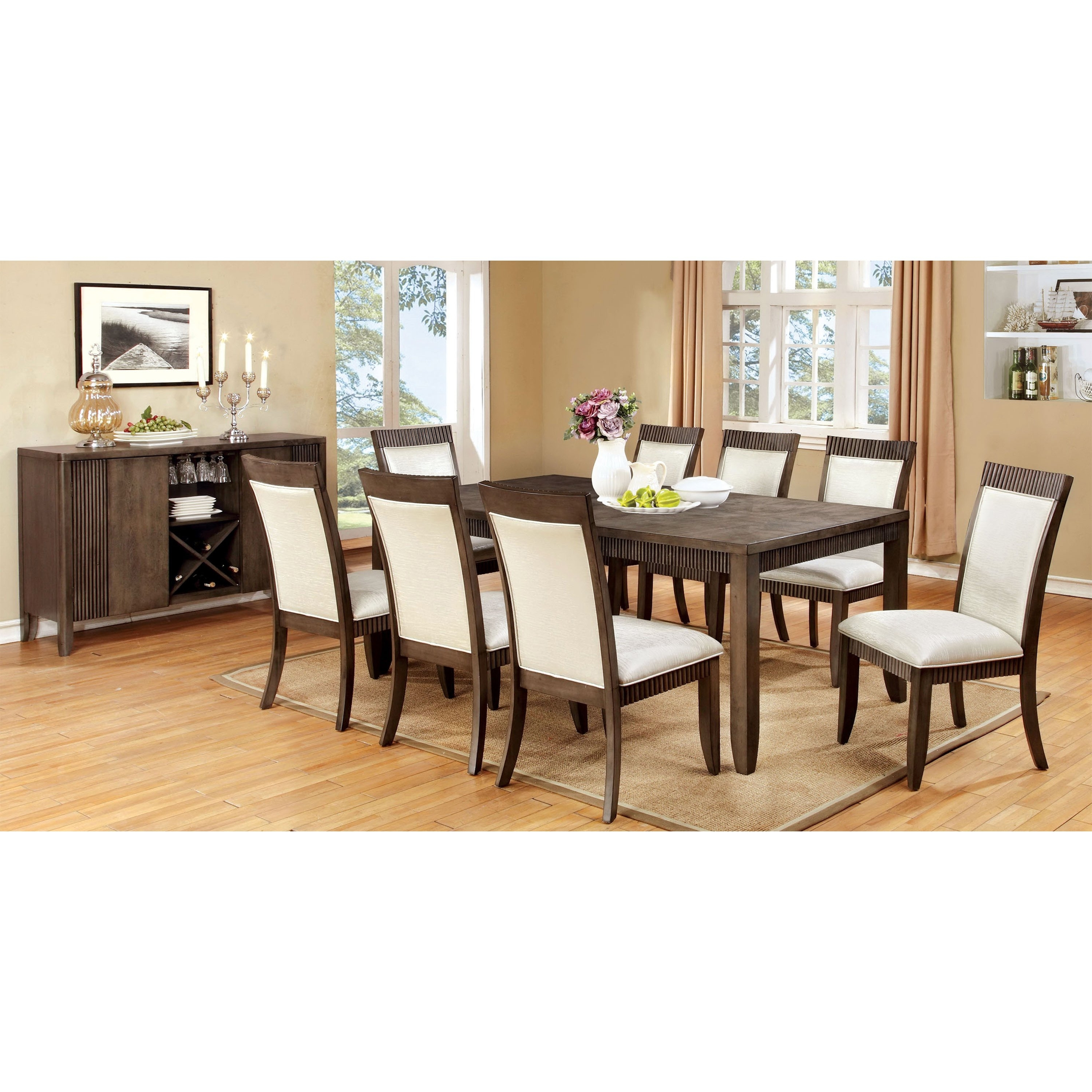 Shop Furniture Of America Mariselle Grey Dining Table – Free With Most Current Caira 9 Piece Extension Dining Sets (View 21 of 25)