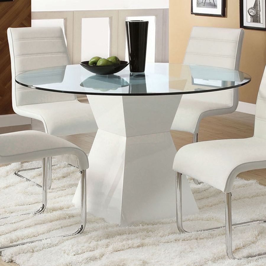 Shop Furniture Of America Mauna Glass Tempered Glass Round Dining Pertaining To Recent Hi Gloss Dining Tables Sets (View 22 of 25)