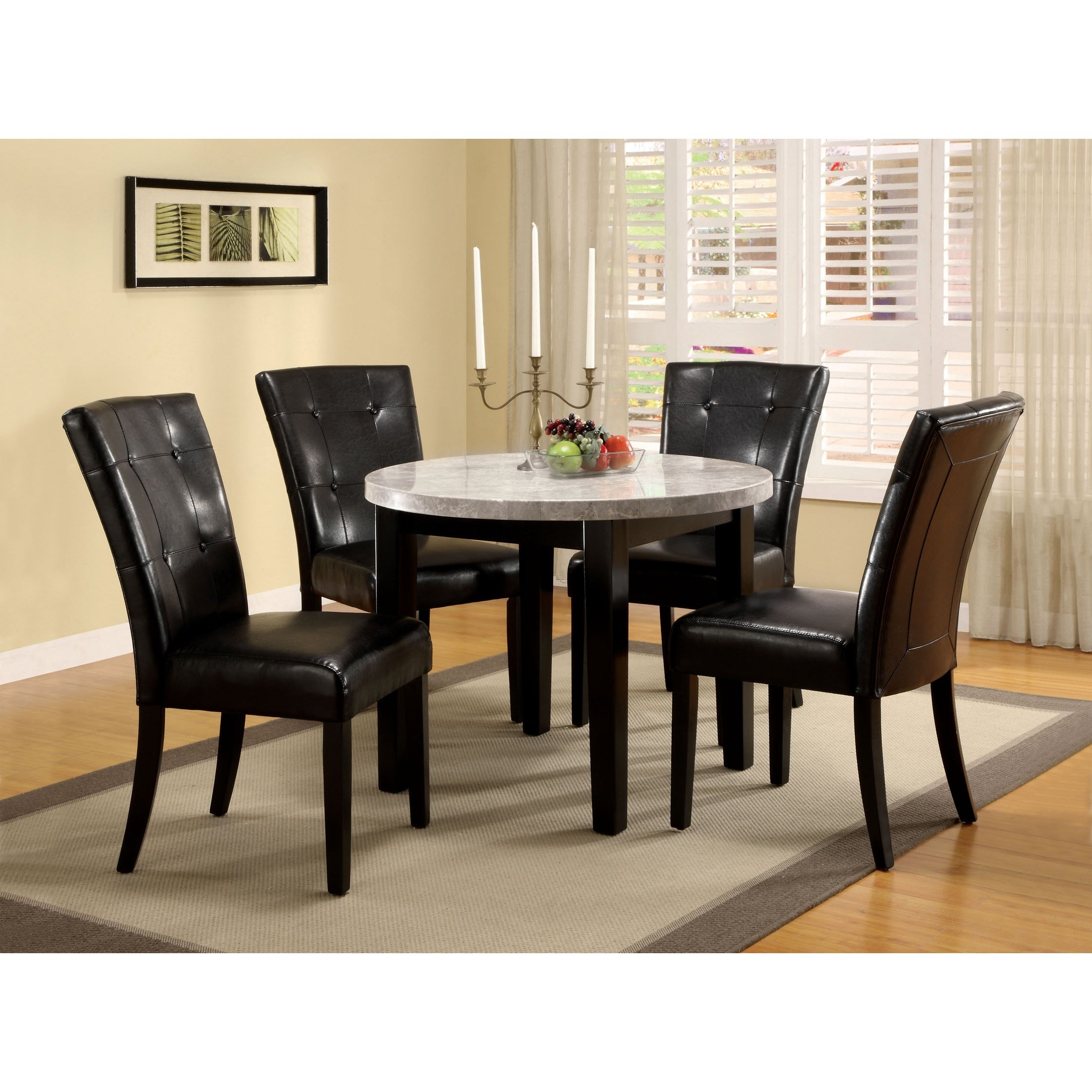Shop Furniture Of America Perican Round 5 Piece Genuine Marble In Popular Marble Dining Chairs (View 25 of 25)