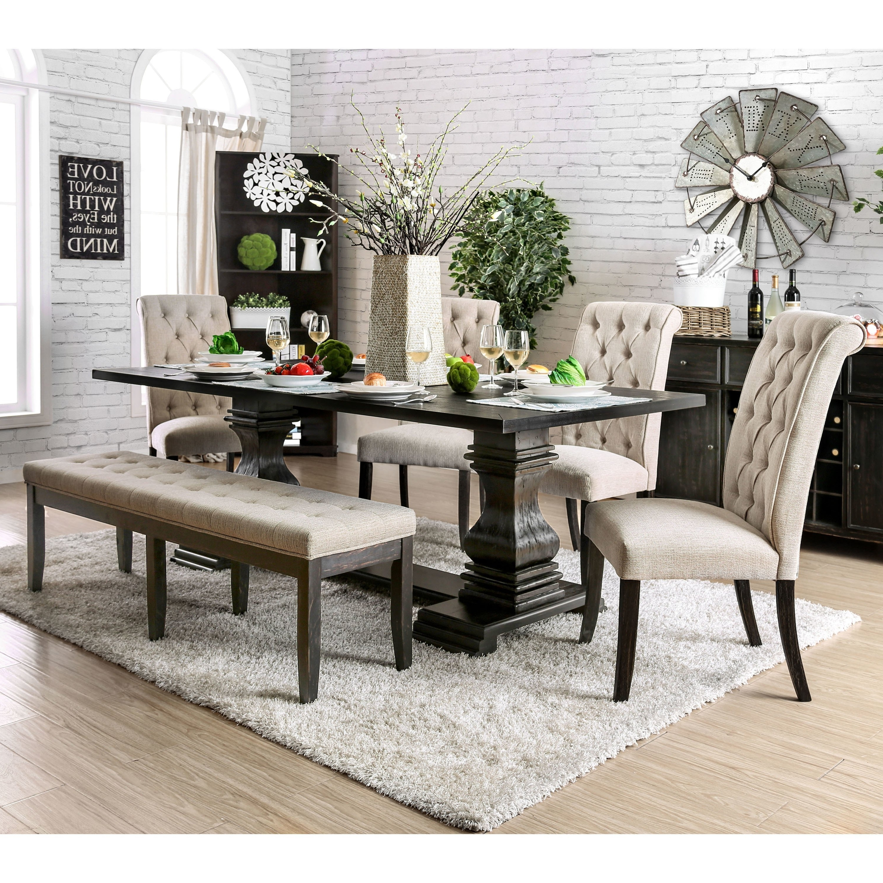 Shop Furniture Of America Reagan Transitional Antique Black 84 Inch Inside Best And Newest Candice Ii Extension Rectangle Dining Tables (View 20 of 25)