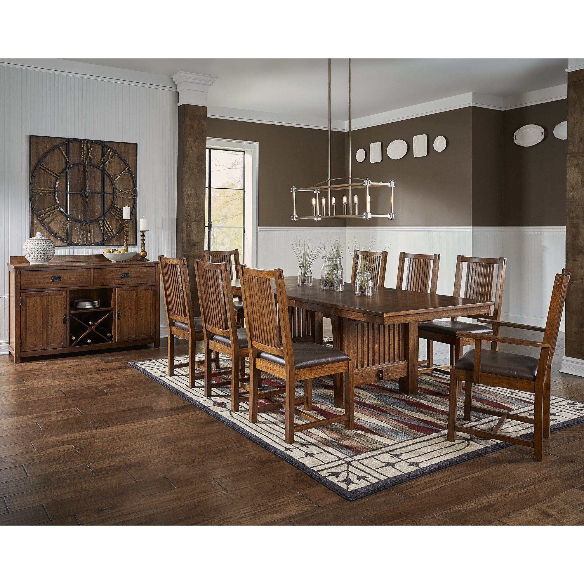Shop Gemma 8 Piece Solid Wood Dining Set – Free Shipping Today For Famous Craftsman 7 Piece Rectangular Extension Dining Sets With Arm & Uph Side Chairs (View 24 of 25)