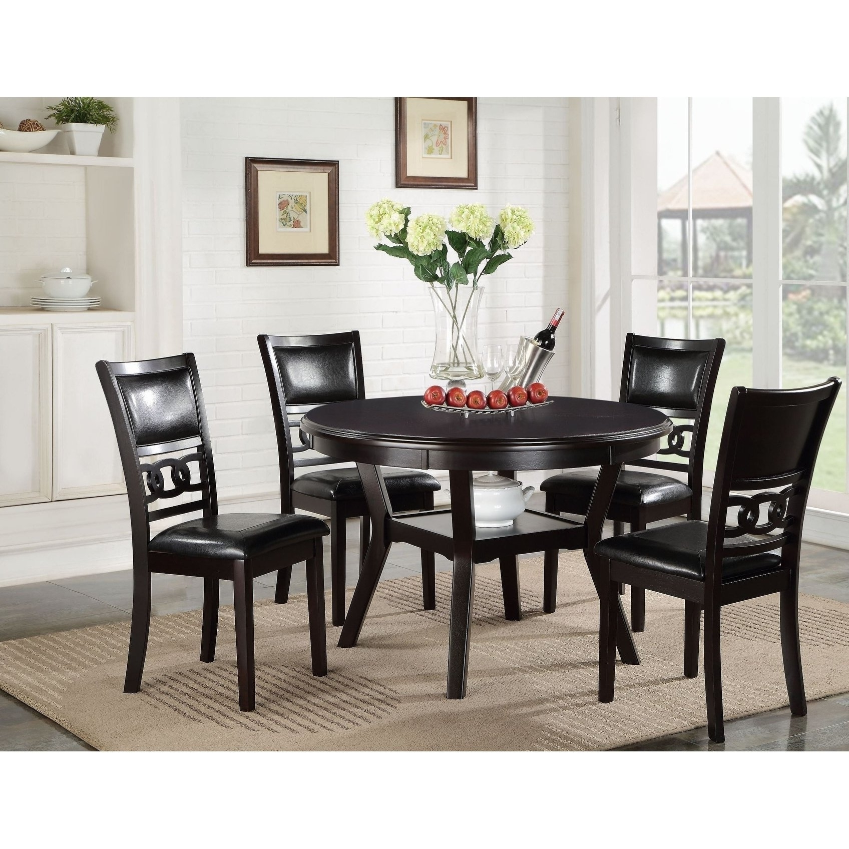 Shop Gia Ebony Standard Height Round Table 5 Piece Dining Set – Free Throughout Newest Jaxon 5 Piece Round Dining Sets With Upholstered Chairs (View 19 of 25)