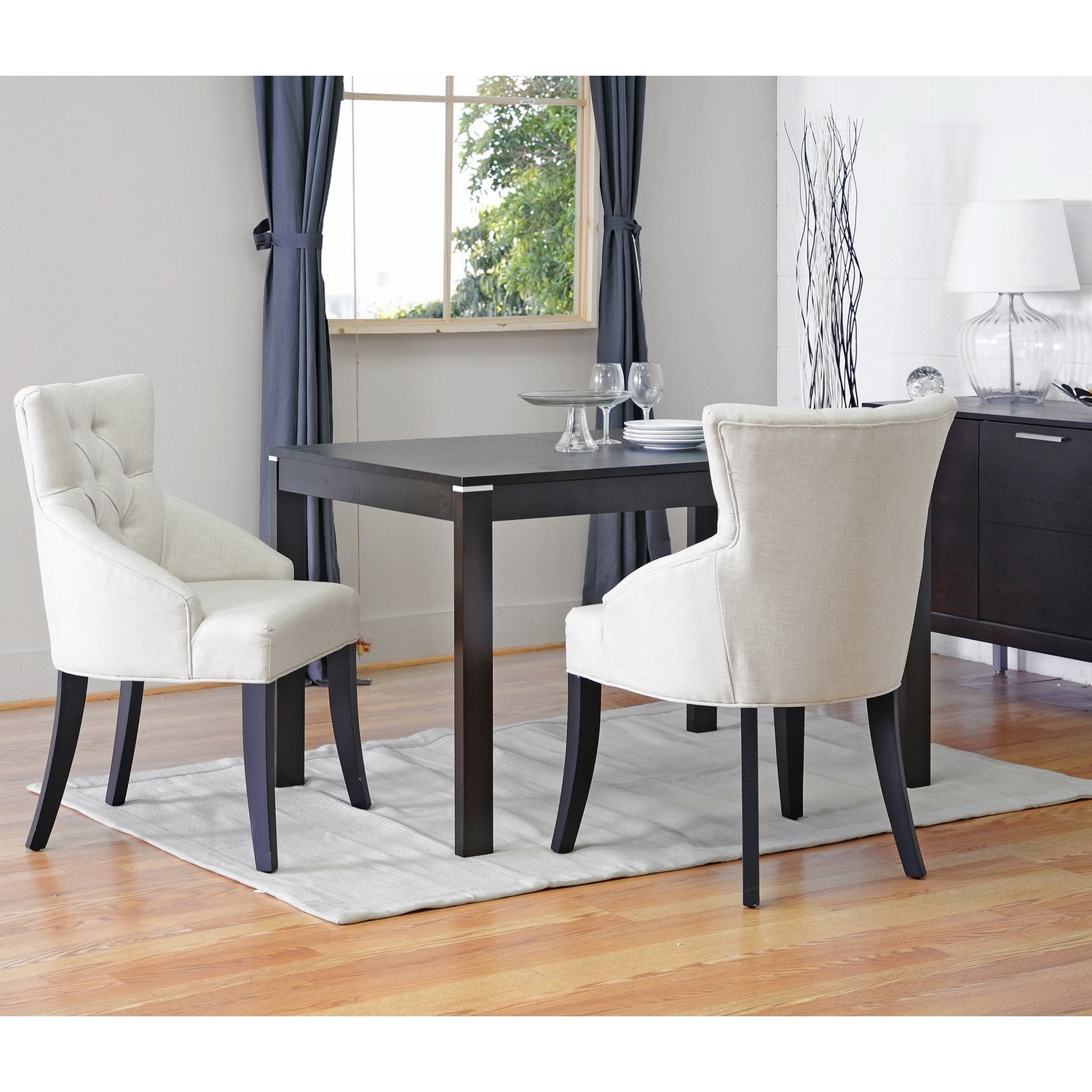 Shop Halifax Light Beige Dining Chair (Set Of 2) – Free Shipping With Latest Caira Black 5 Piece Round Dining Sets With Diamond Back Side Chairs (View 25 of 25)