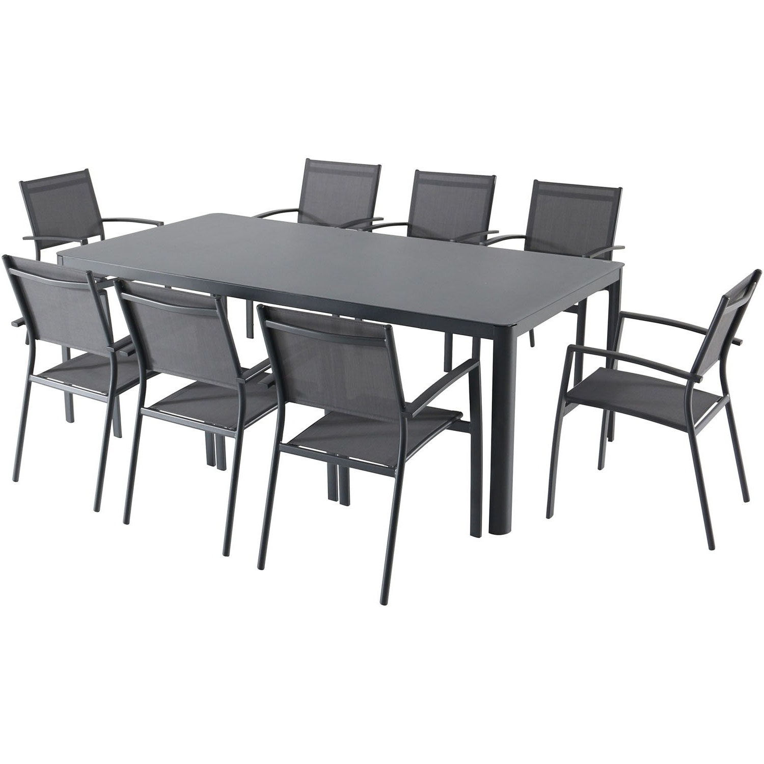 Shop Hanover Fresno 9 Piece Outdoor Dining Set With 8 Sling Arm Within Widely Used Grady 5 Piece Round Dining Sets (View 9 of 25)