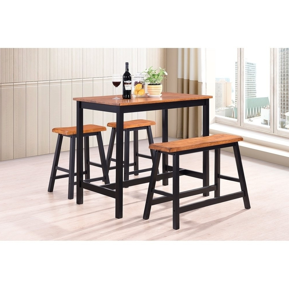 Shop Harper&bright Designs 4 Piece Wood Dining Set – Free Shipping With Regard To Well Known Harper 5 Piece Counter Sets (View 21 of 25)
