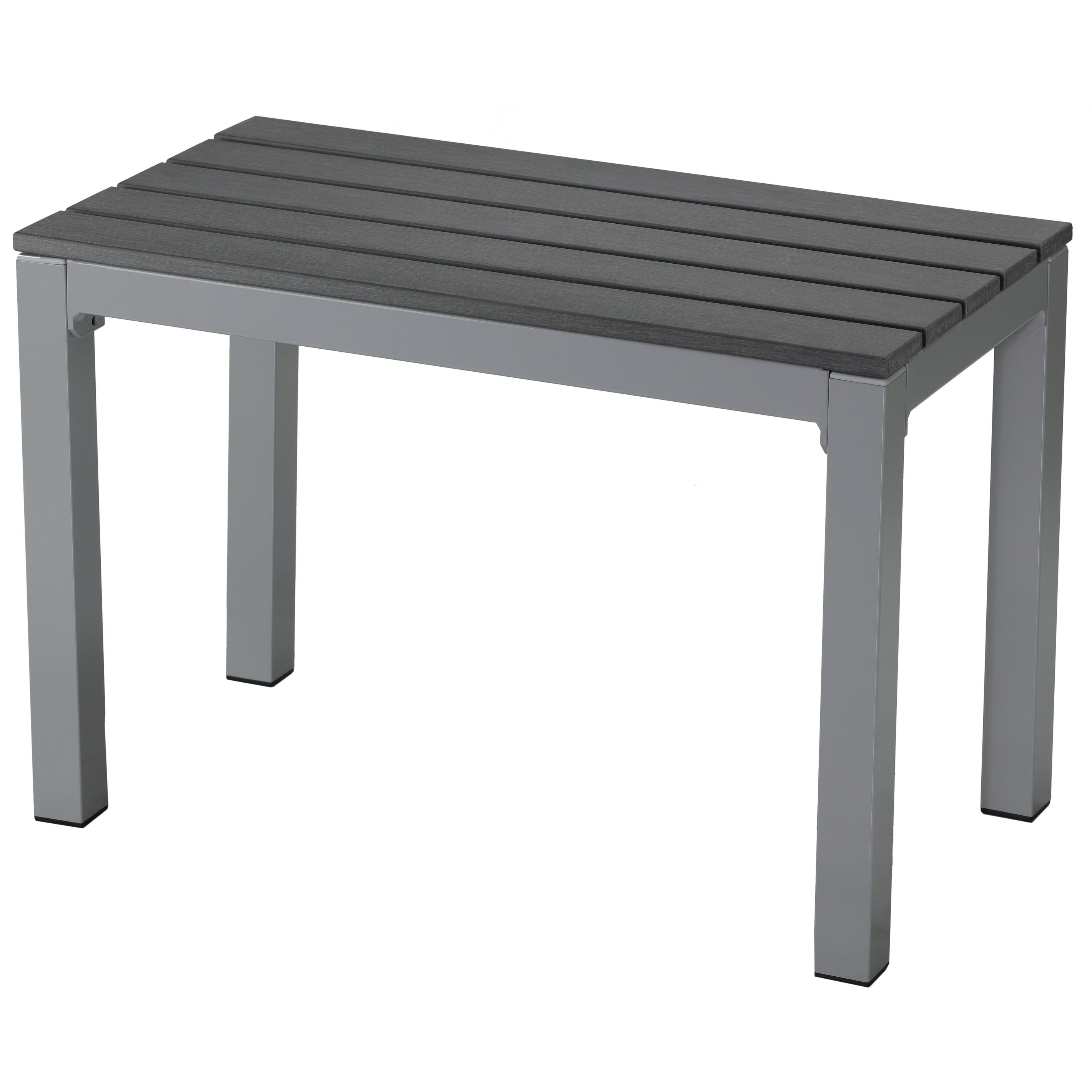 Shop Jaxon Aluminum Outdoor Bench In Poly Resin, Silver/slate Grey Pertaining To Well Known Jaxon Grey Rectangle Extension Dining Tables (View 11 of 25)