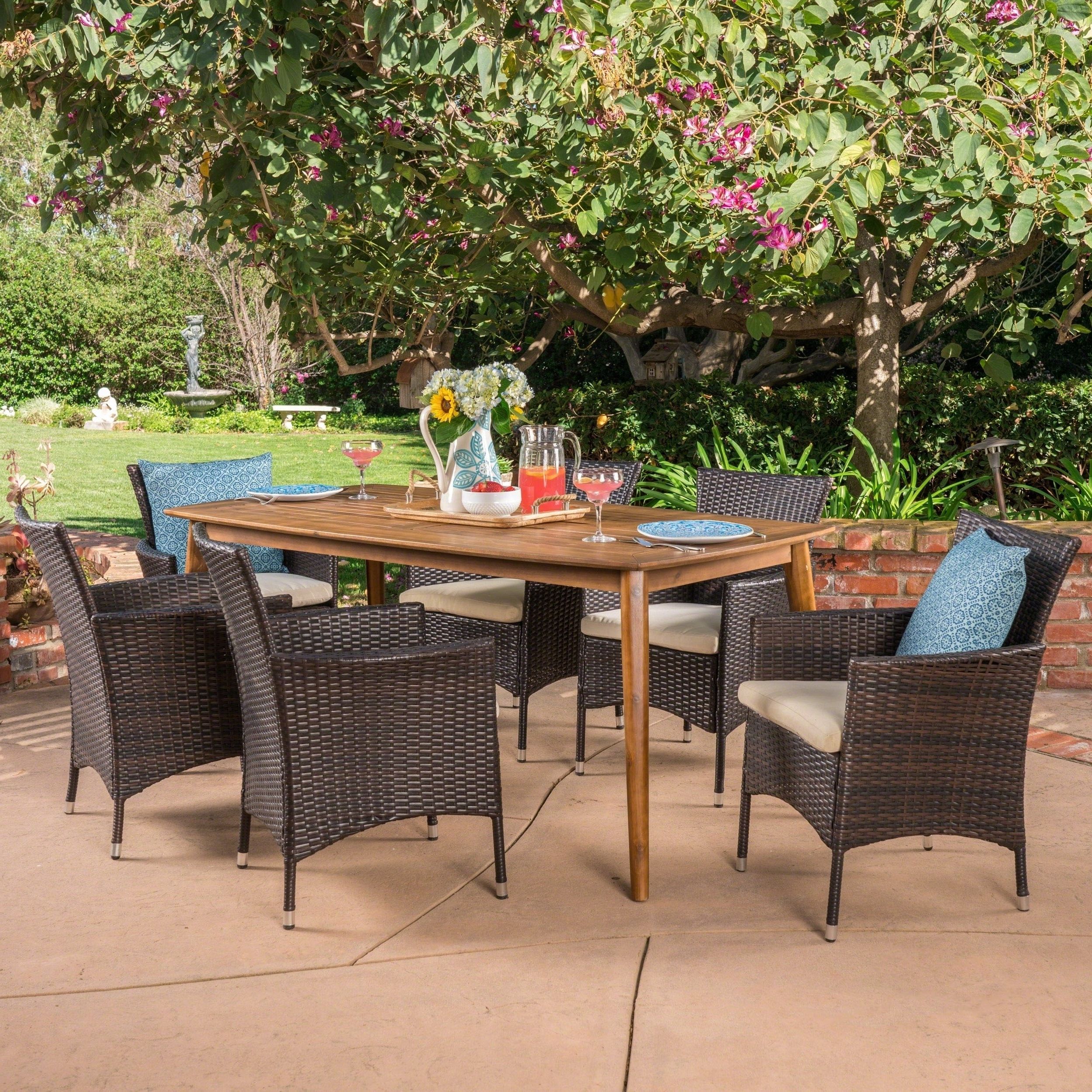 Shop Jaxon Outdoor 7 Piece Multibrown Pe Wicker Dining Set With For Fashionable Jaxon Grey 7 Piece Rectangle Extension Dining Sets With Uph Chairs (View 8 of 25)
