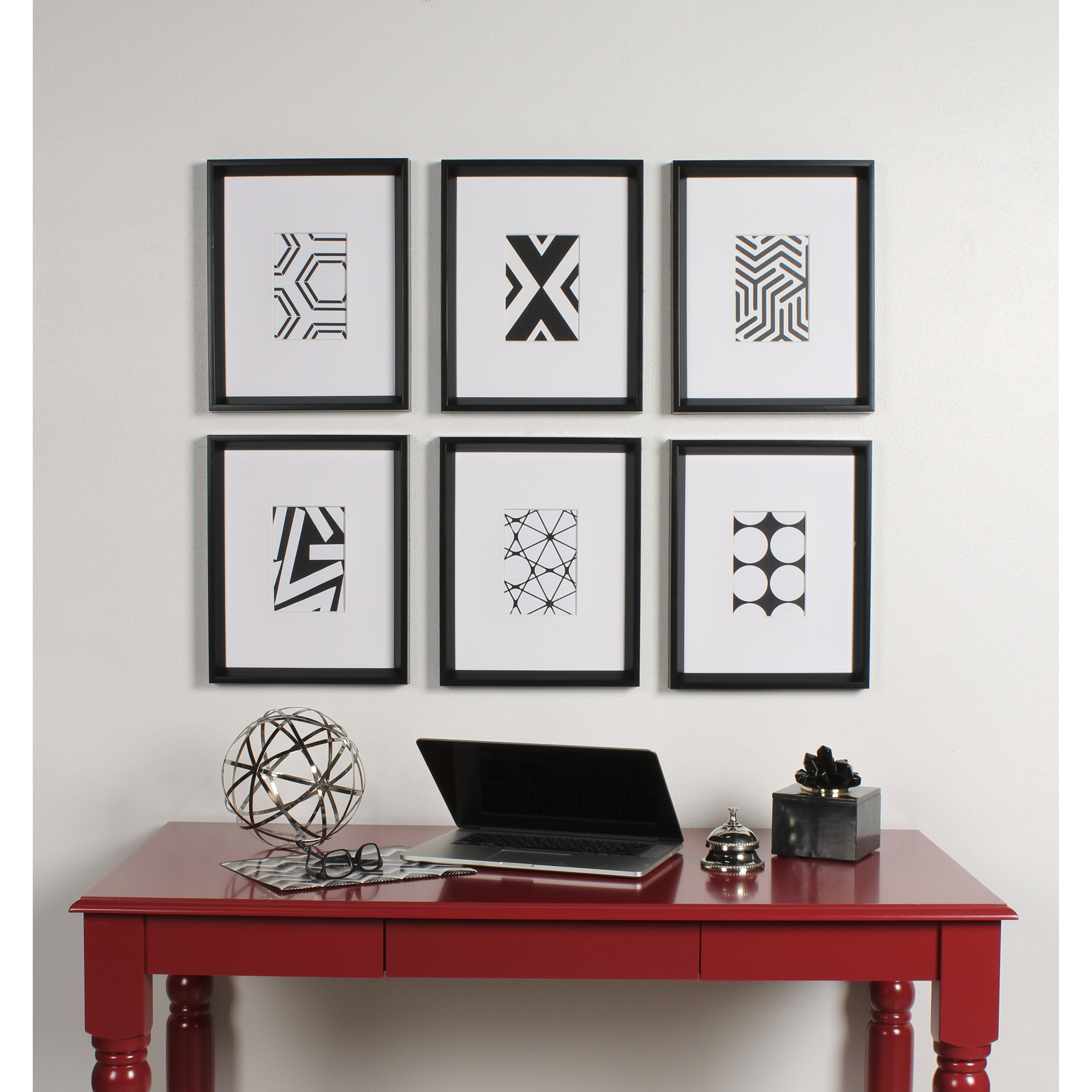 Shop Kate And Laurel Calter 6 Piece Framed Black And White Print Art Pertaining To Widely Used Wyatt 6 Piece Dining Sets With Celler Teal Chairs (View 22 of 25)
