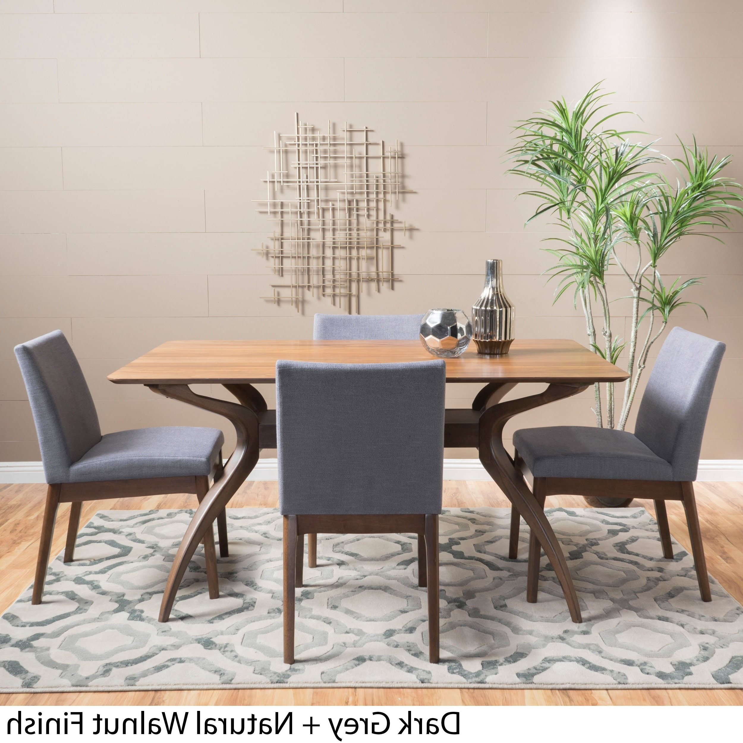 Shop Kwame Mid Century 5 Piece Rectangle Dining Setchristopher Pertaining To Most Current Laurent 5 Piece Round Dining Sets With Wood Chairs (View 19 of 25)