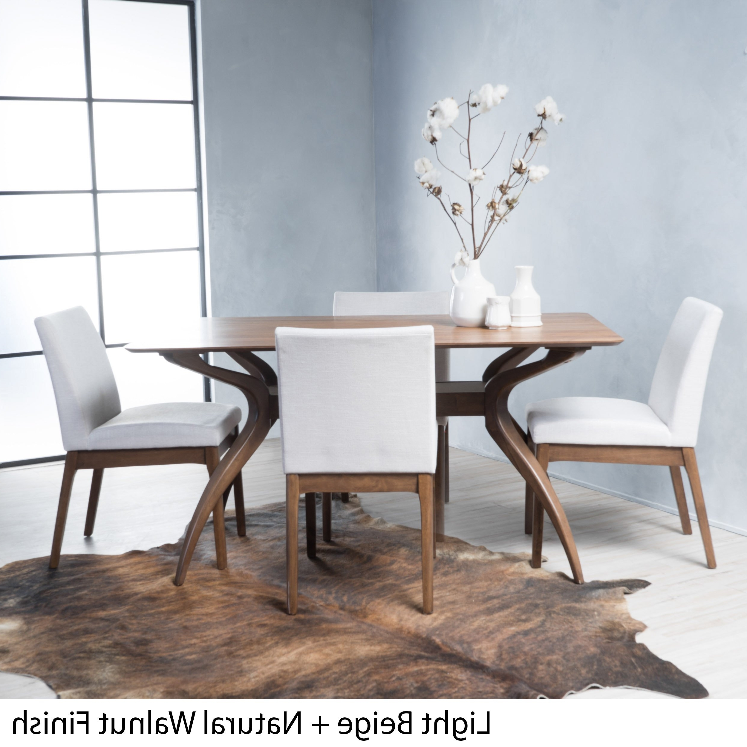 Shop Kwame Mid Century 5 Piece Rectangle Dining Setchristopher Regarding Newest Laurent 5 Piece Round Dining Sets With Wood Chairs (View 19 of 25)